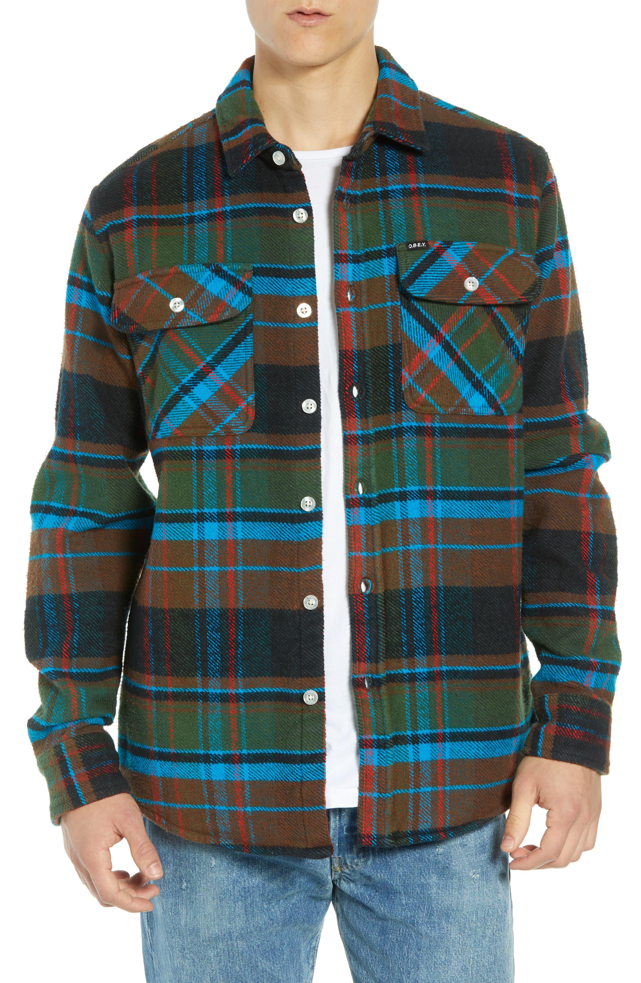 Obey Homebound Heavy Plaid Flannel Shirt Jacket, Green
