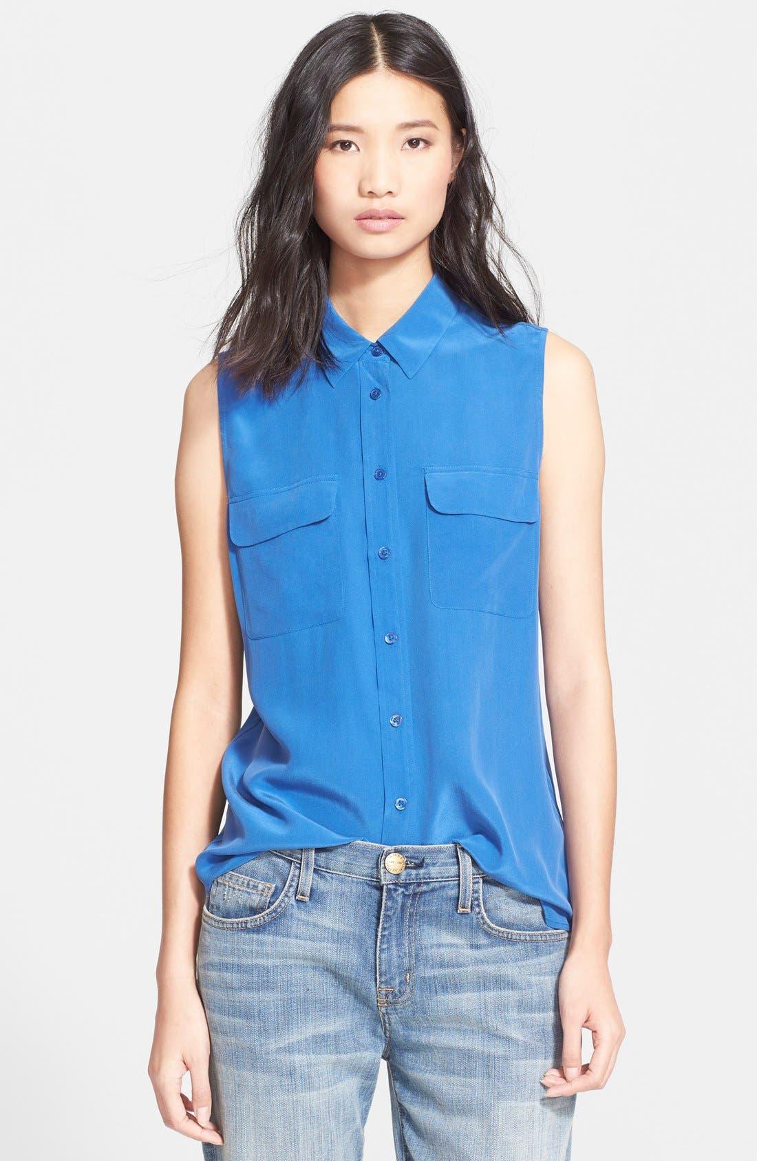 'Slim Signature' Sleeveless Silk Shirt,                             Main thumbnail 26, color,