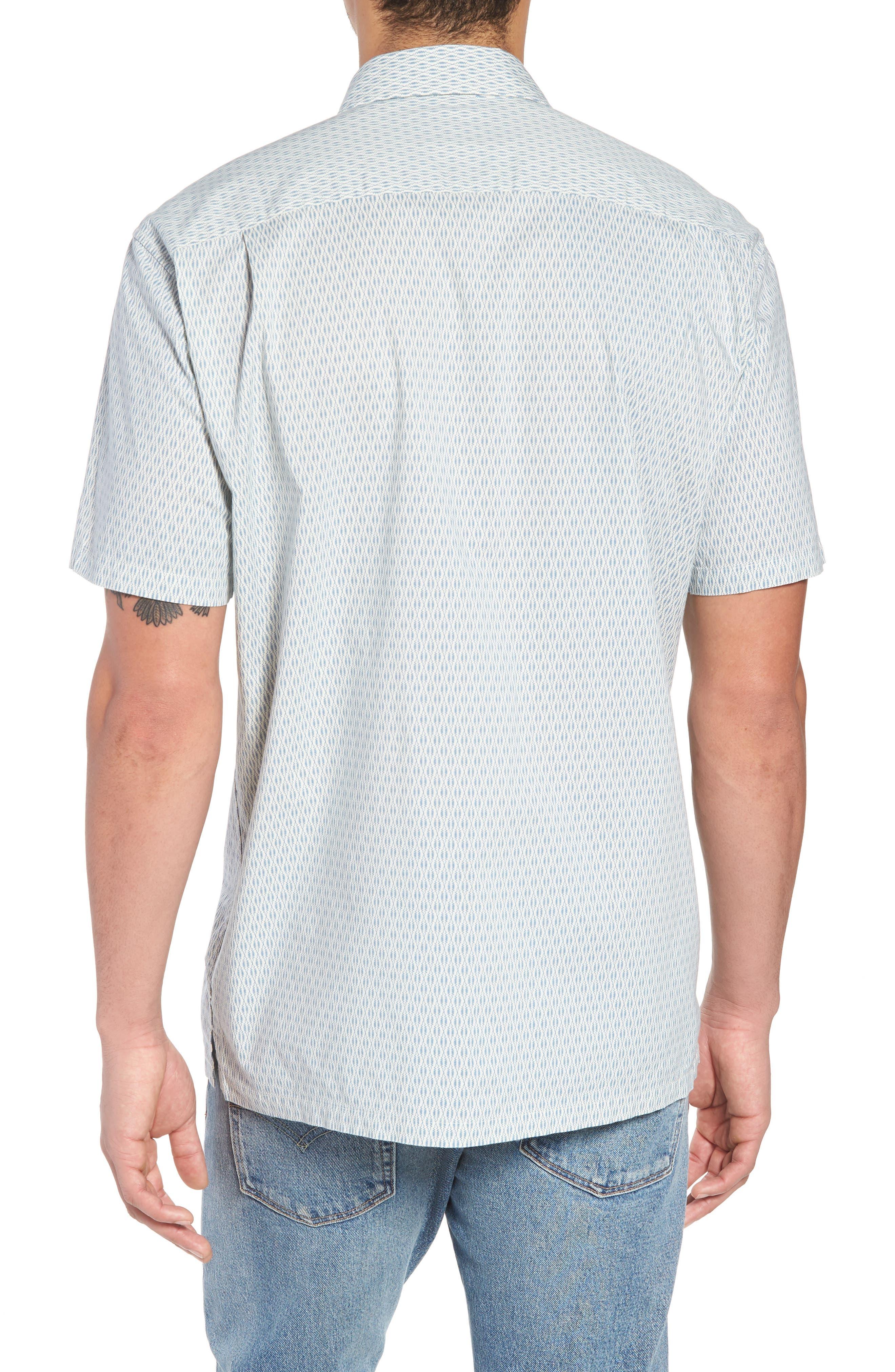 Regular Fit Print Short Sleeve Sport Shirt,                             Alternate thumbnail 2, color,                             VINTAGE NAVY SQUIGGLE