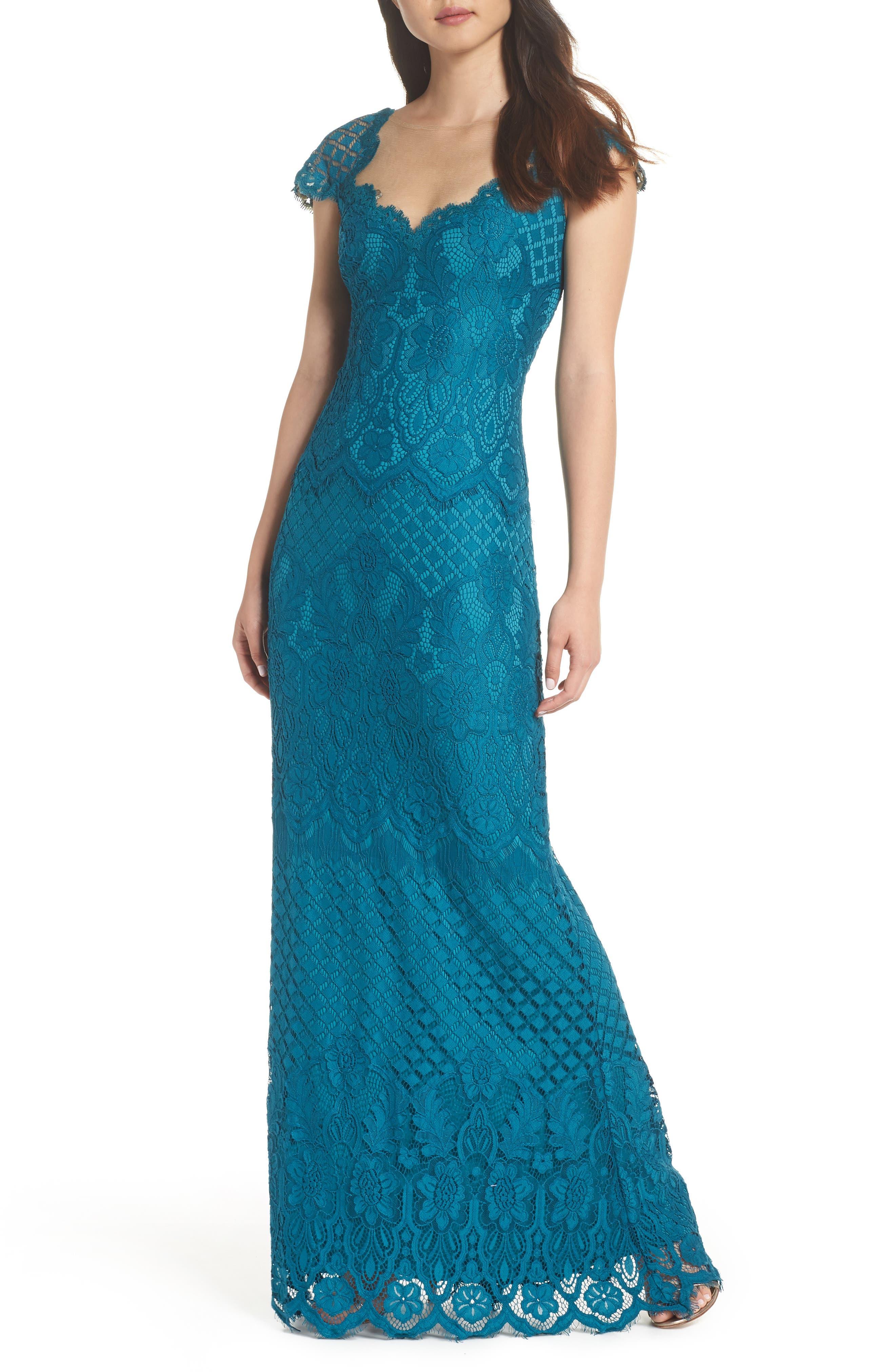 Tadashi Shoji Lace Gown, Blue/green