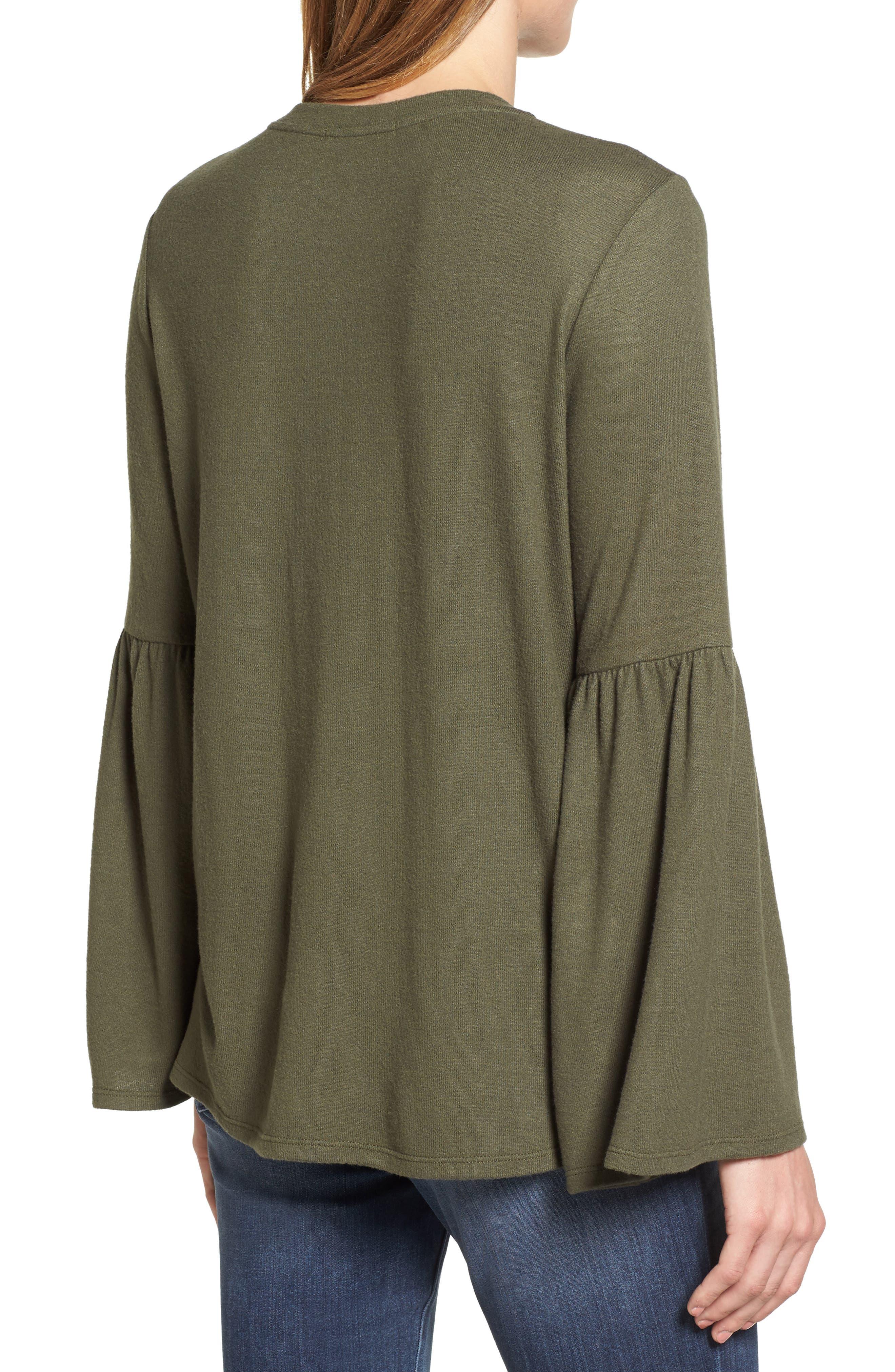 Bell Sleeve Cozy Fleece Pullover,                             Alternate thumbnail 20, color,