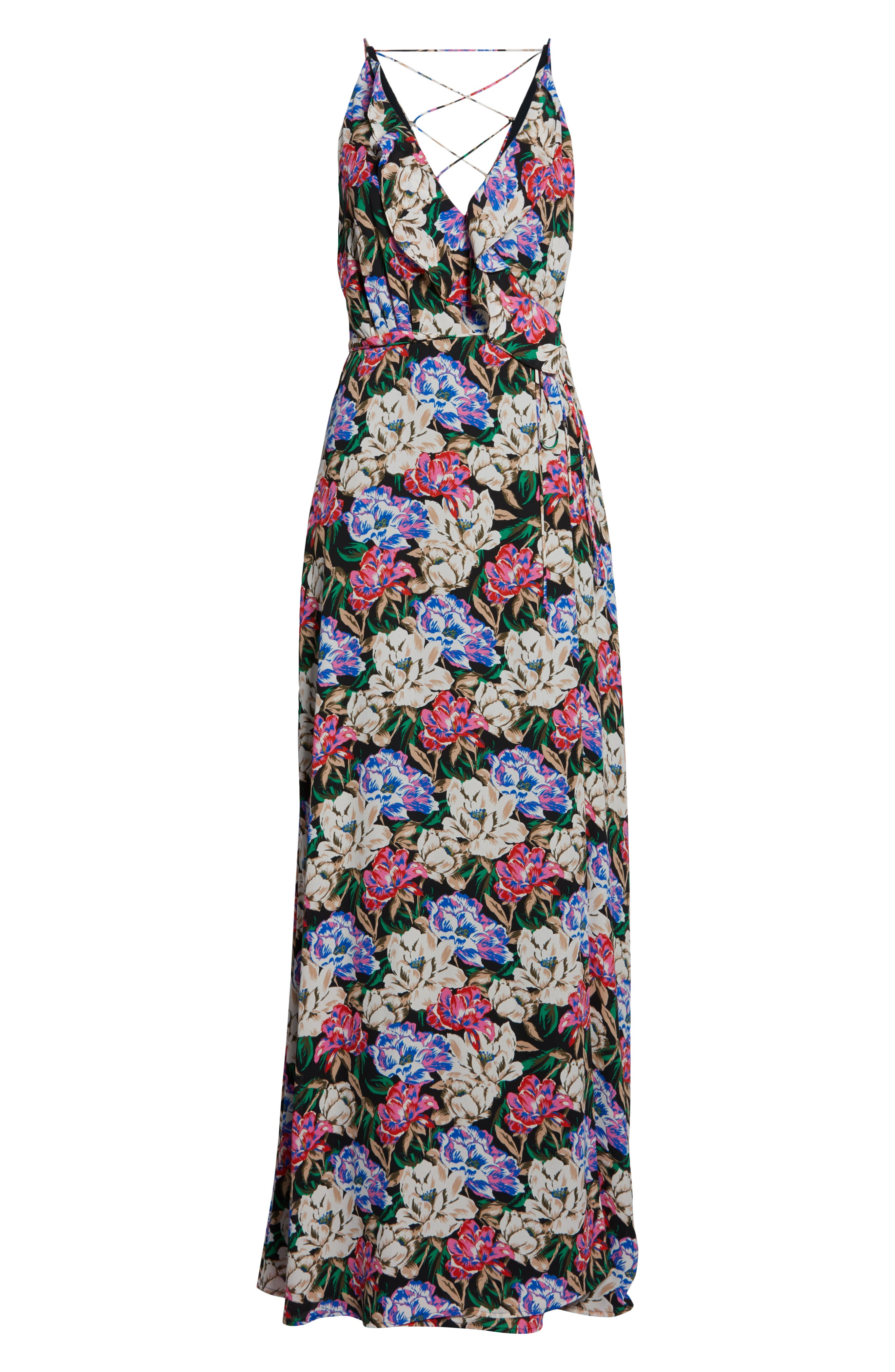 Jamie Ruffle Wrap Gown,                             Alternate thumbnail 7, color,                             MIDNIGHT FLORAL