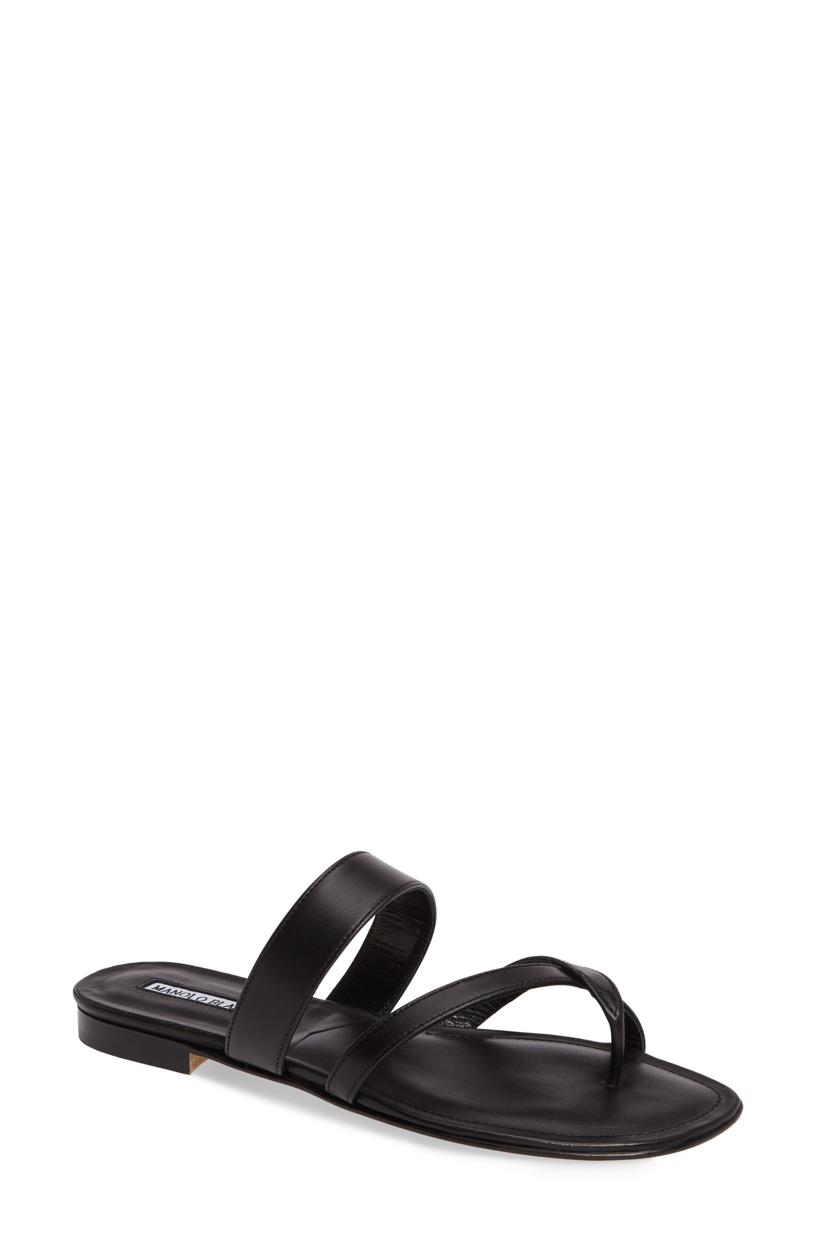 MANOLO BLAHNIK Leather Crisscross Slides in Black Leather