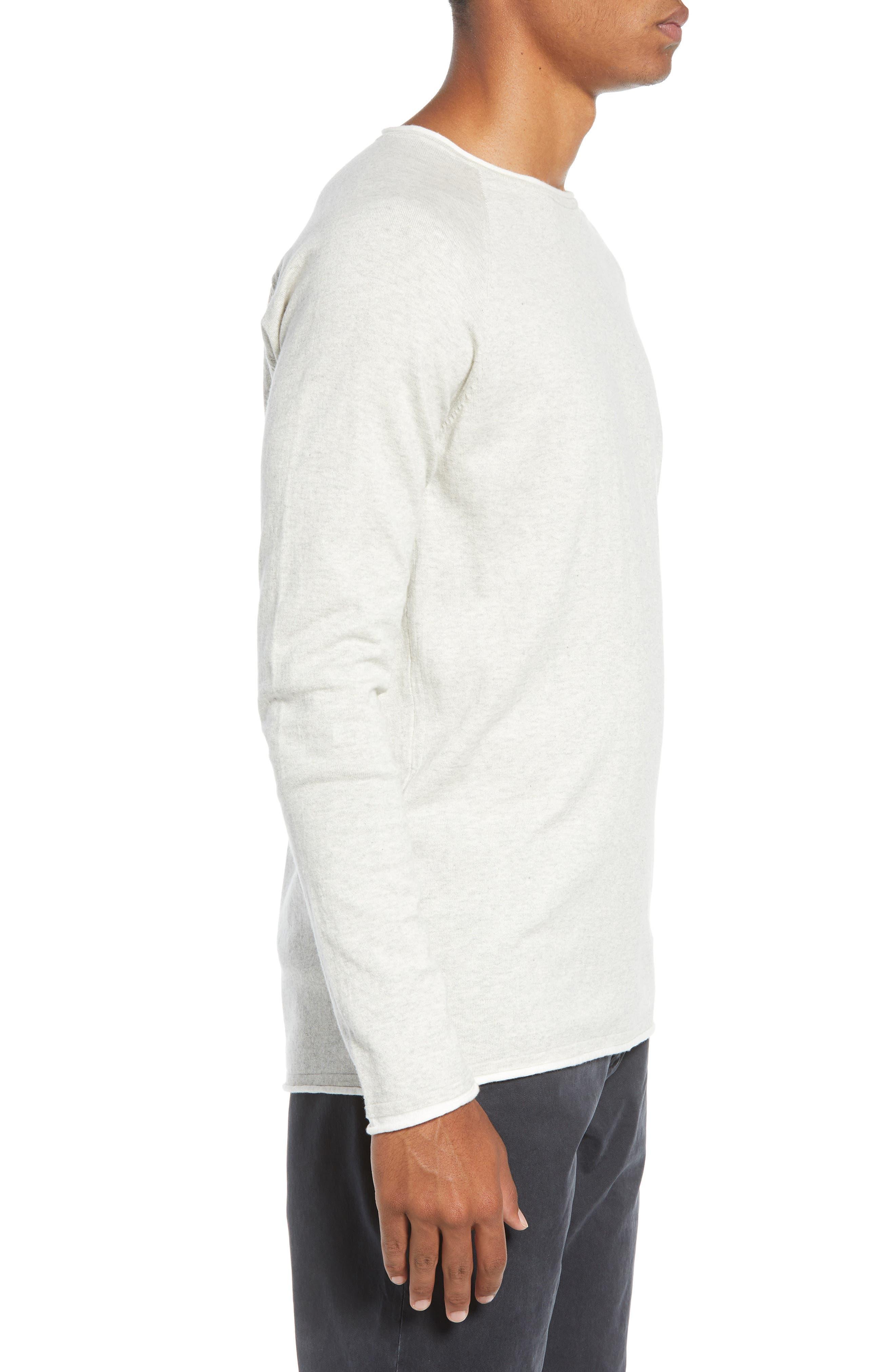 Crewneck Sweatshirt,                             Alternate thumbnail 3, color,                             BONE WHITE MELANGE