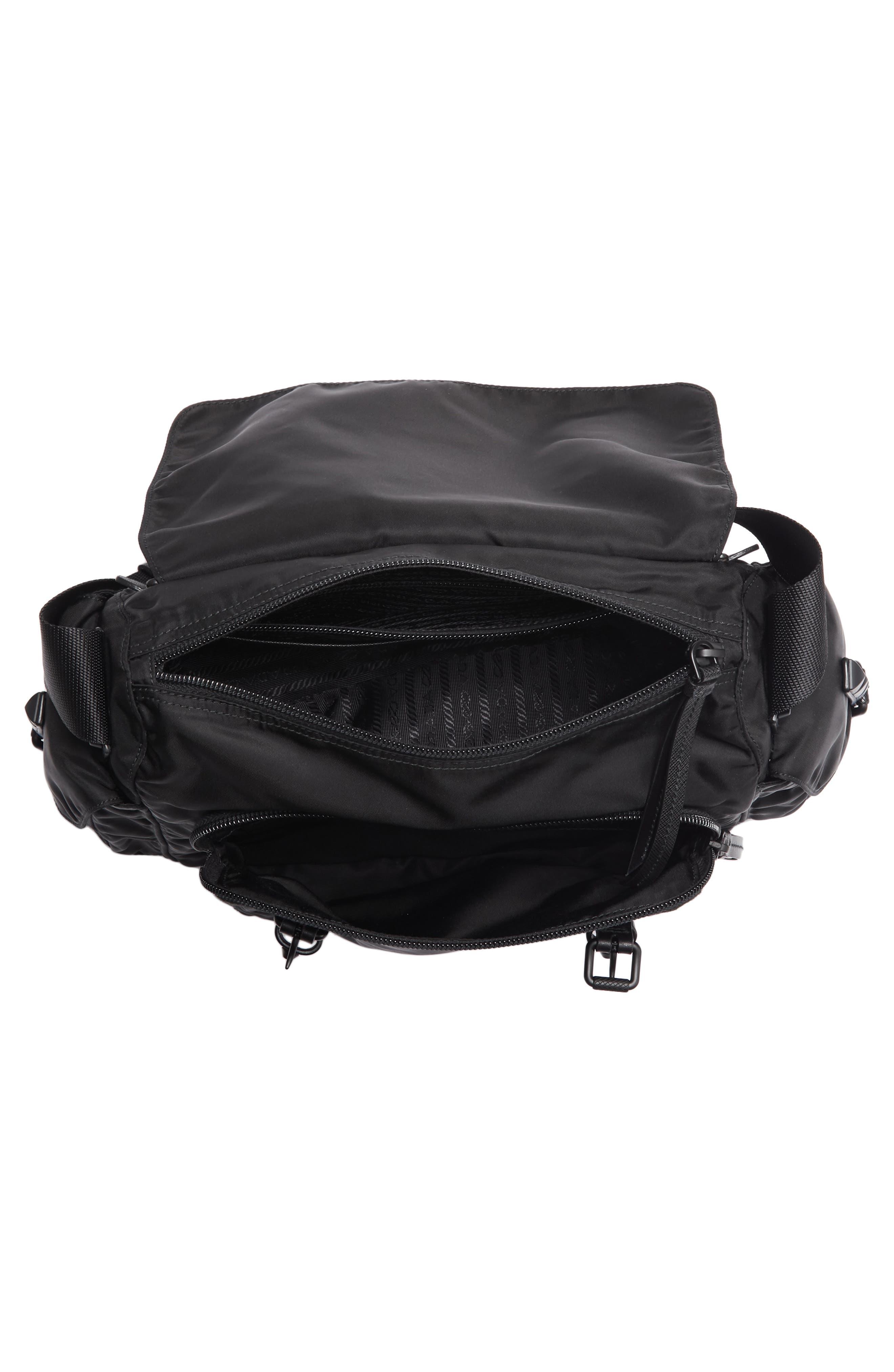 Studded Nylon Messenger Bag,                             Alternate thumbnail 5, color,                             002
