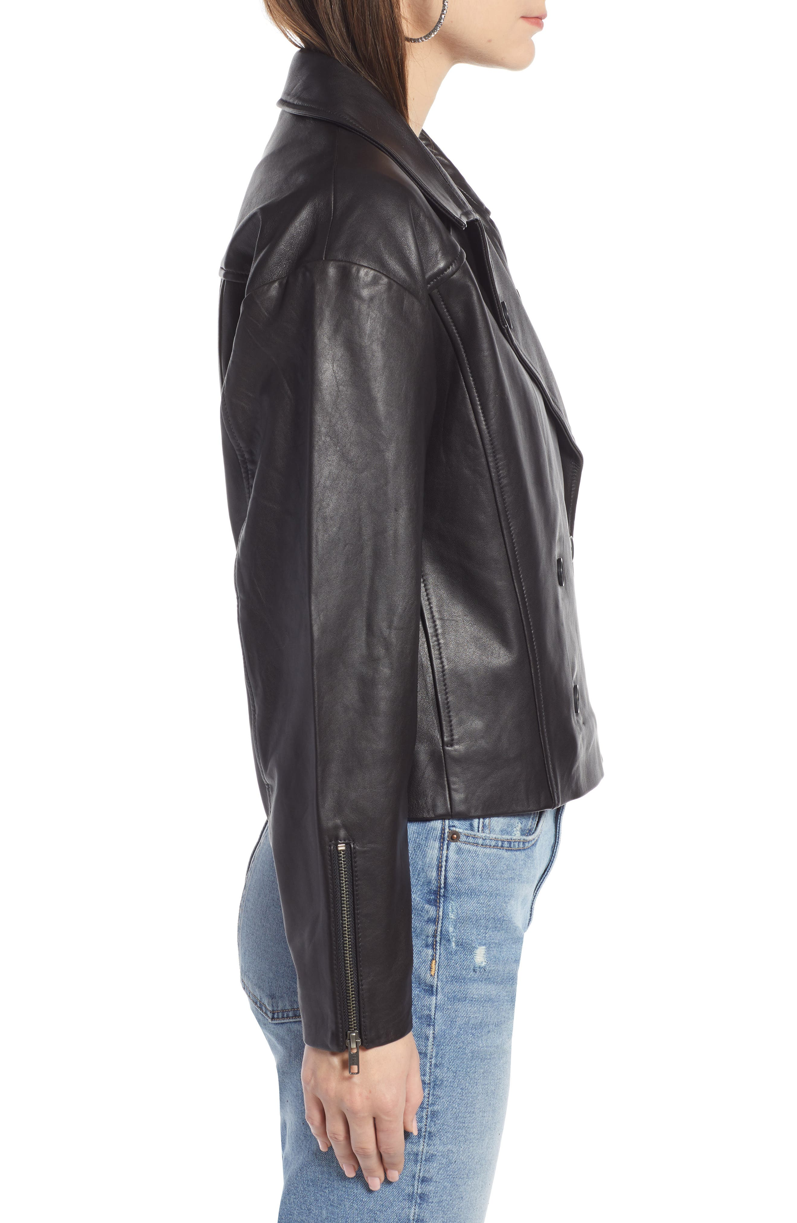Shrunken Leather Jacket,                             Alternate thumbnail 3, color,                             BLACK