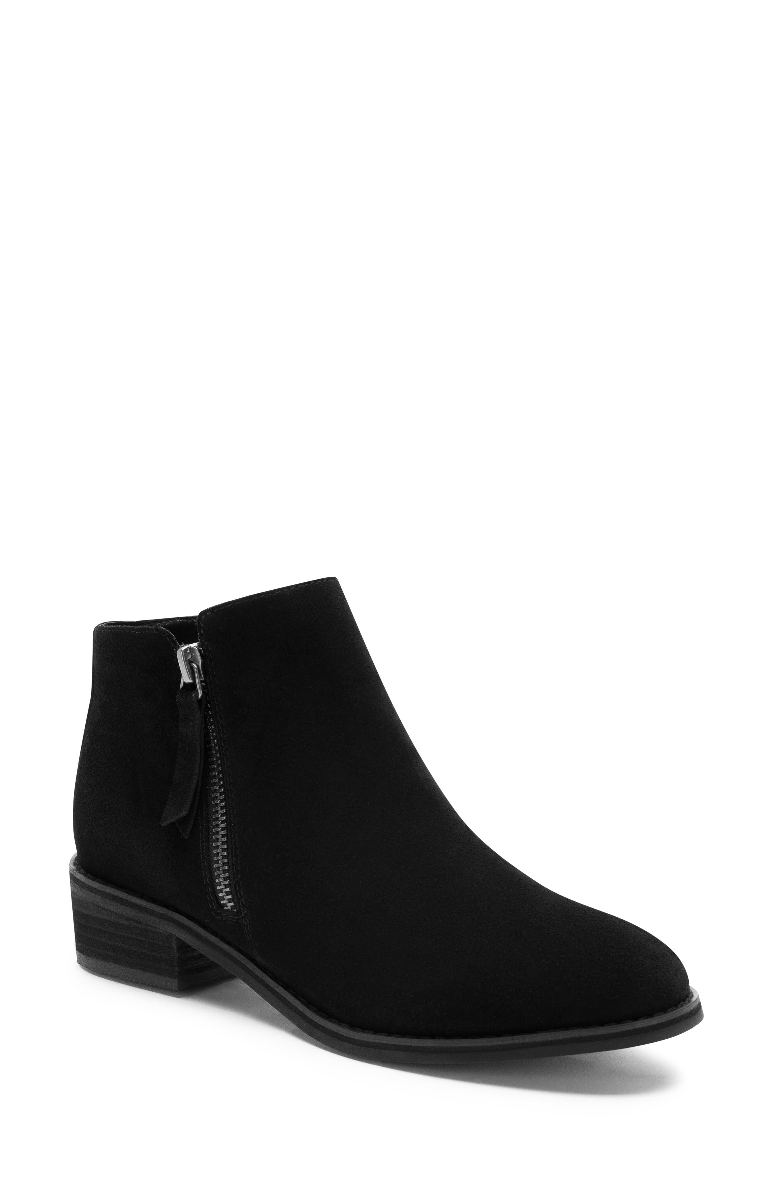 Linda Waterproof Bootie,                             Main thumbnail 1, color,                             BLACK SUEDE