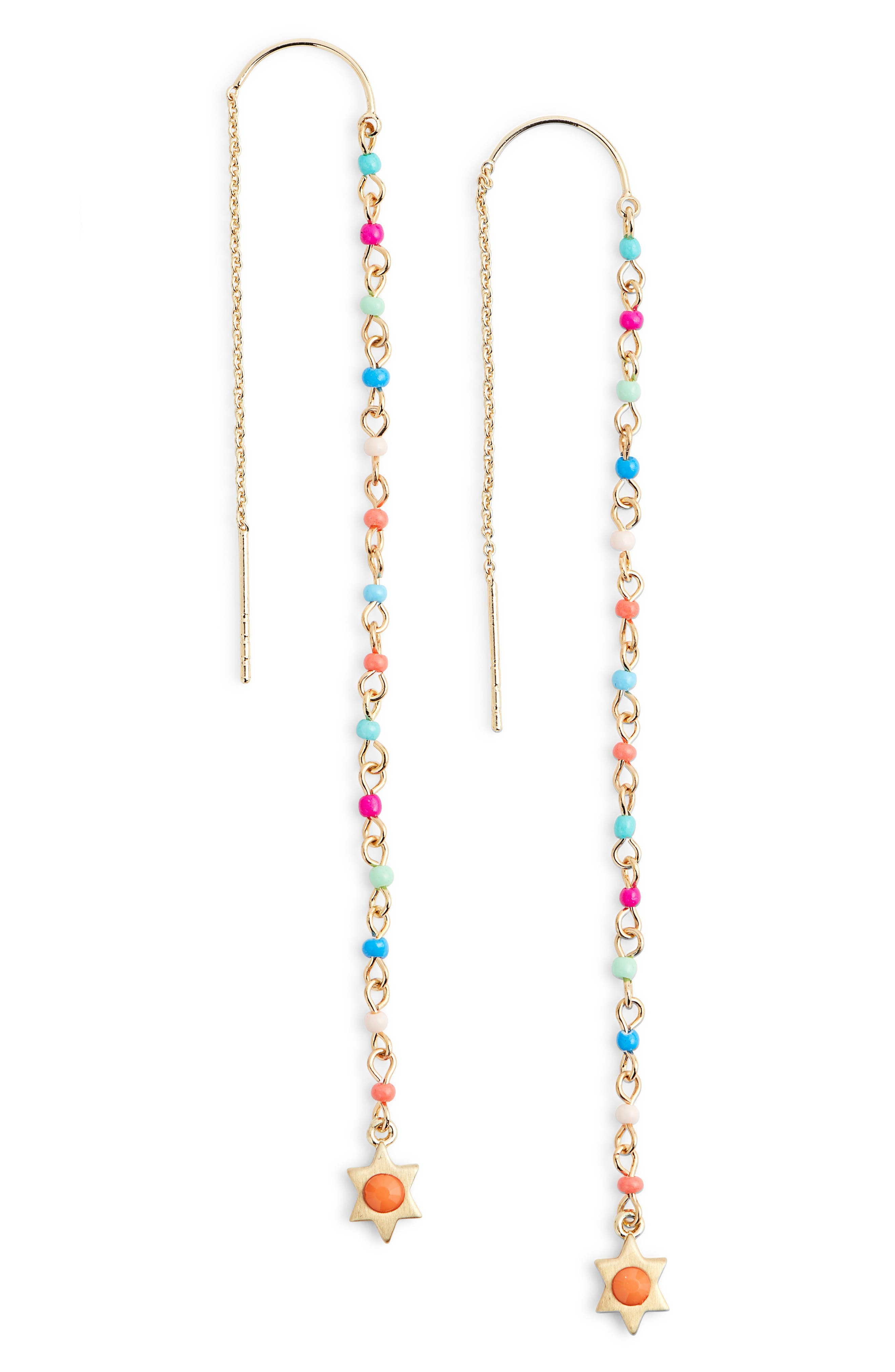 Linear Beaded Threader Earrings,                             Main thumbnail 2, color,