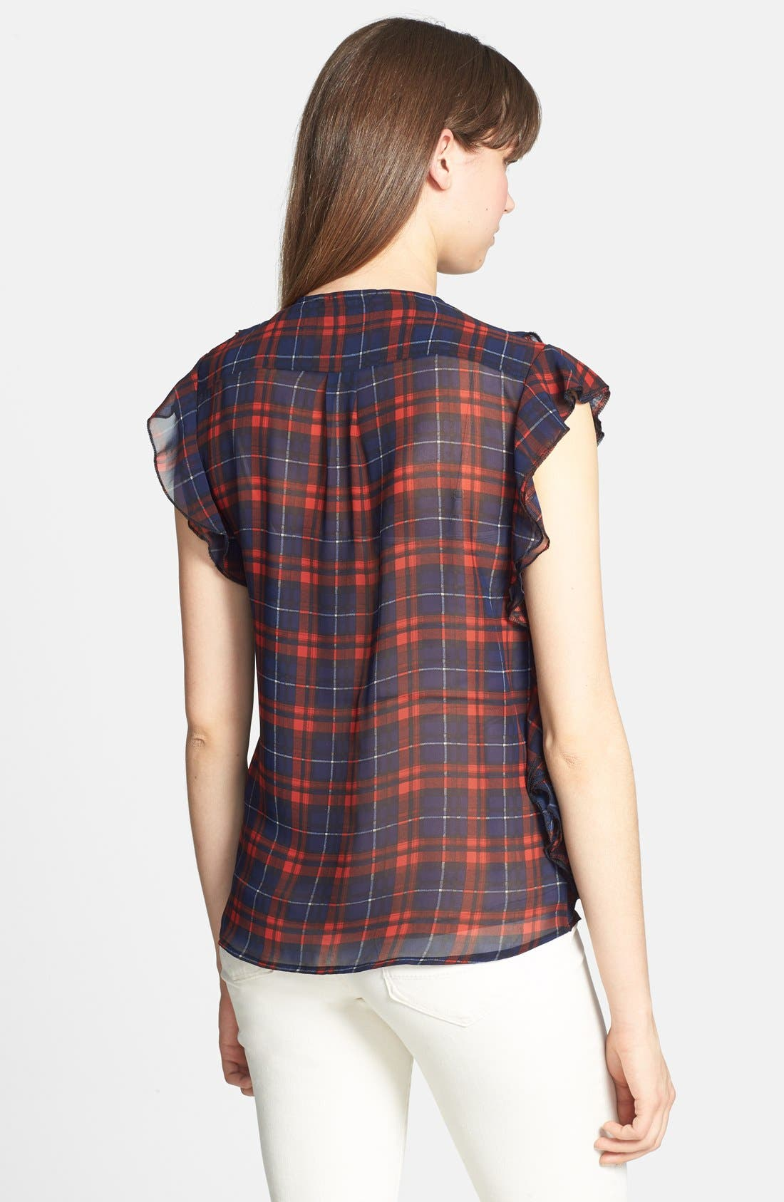 'Cascading Ruffles' Plaid Blouse,                             Alternate thumbnail 3, color,                             613