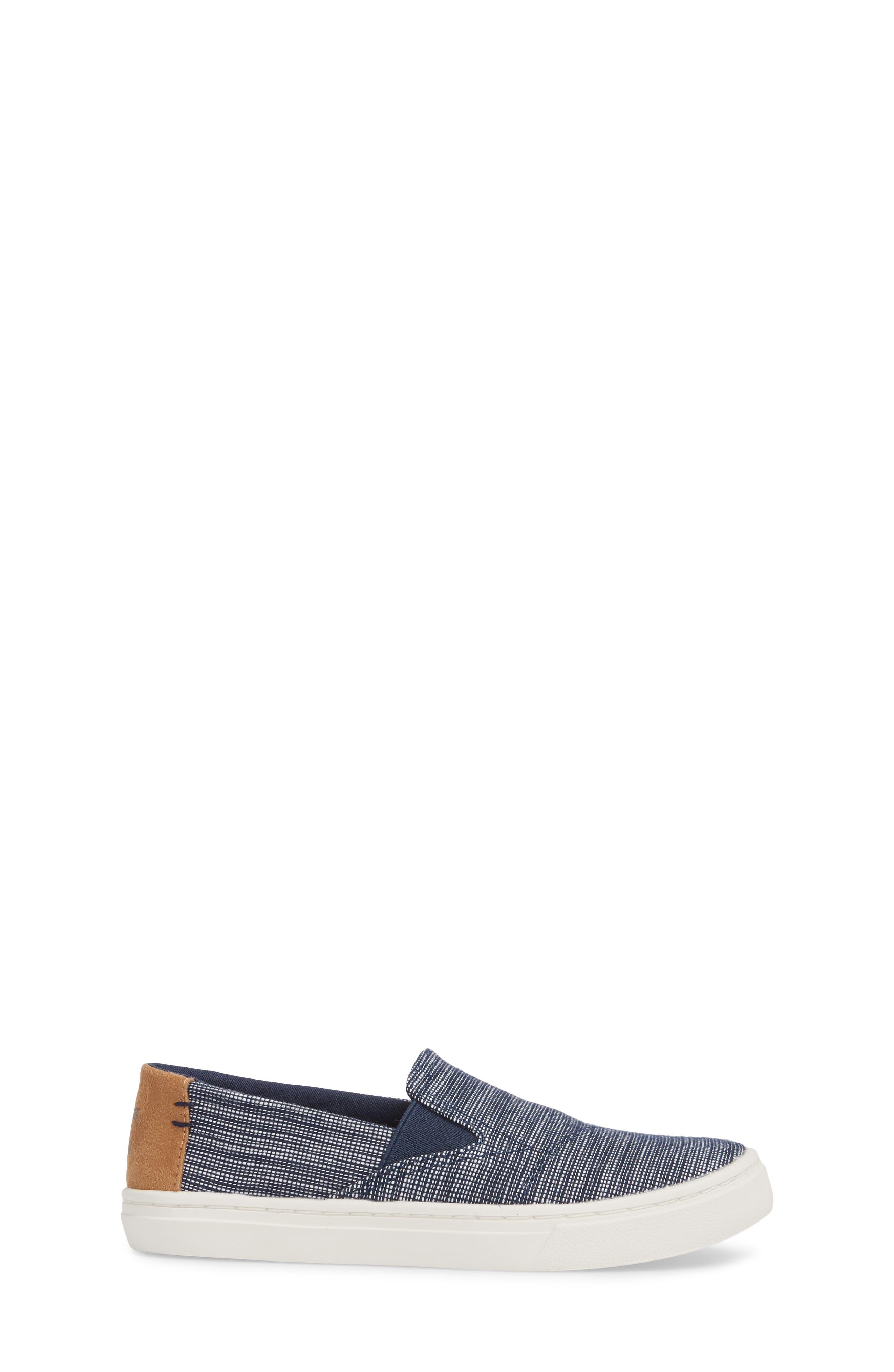 Luca Basket Weave Slip-On,                             Alternate thumbnail 3, color,                             NAVY STRIPED CHAMBRAY
