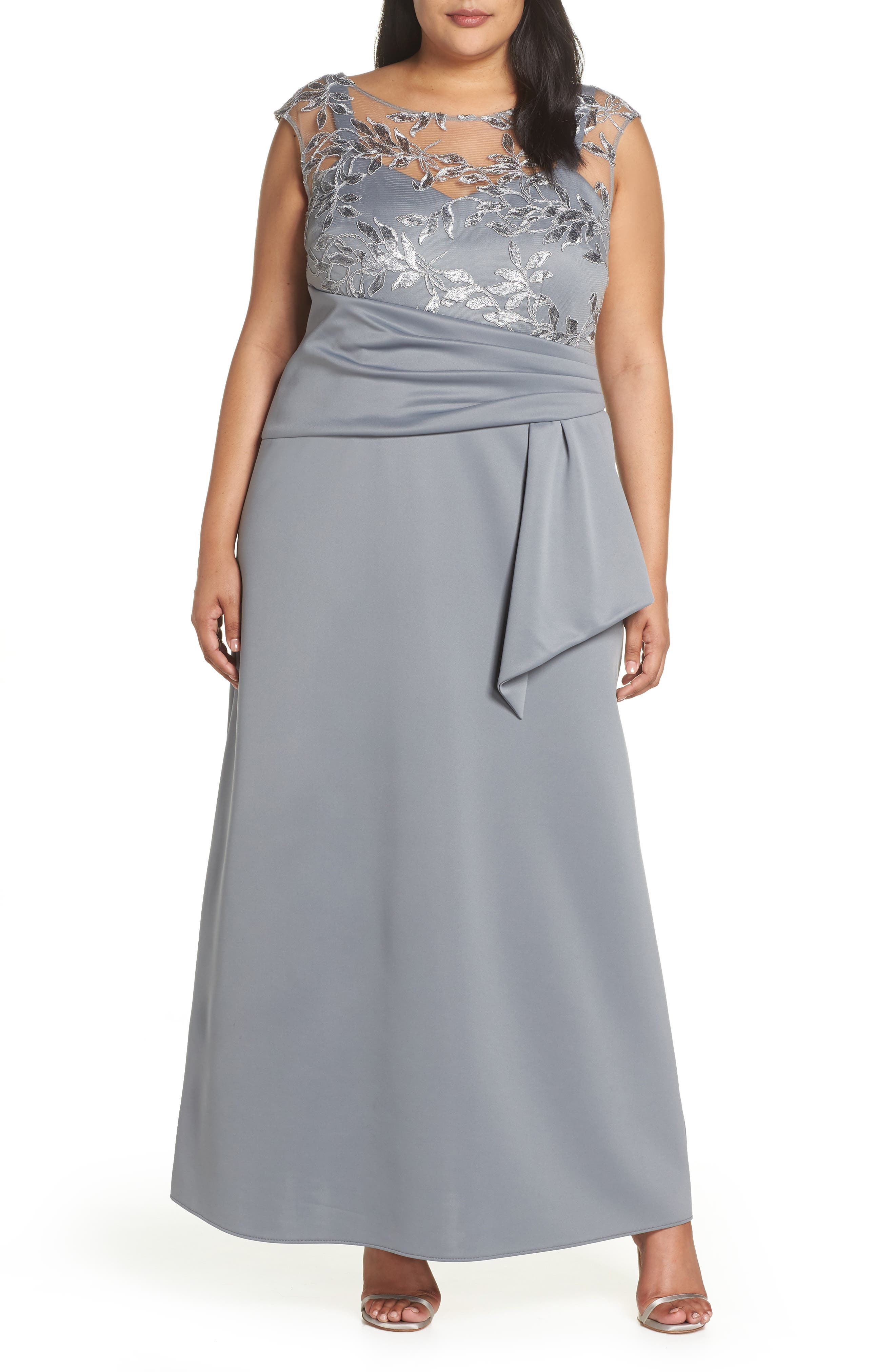 1940s Dresses | 40s Dress, Swing Dress Plus Size Womens Brianna Sequin Embroidered Gown $168.00 AT vintagedancer.com