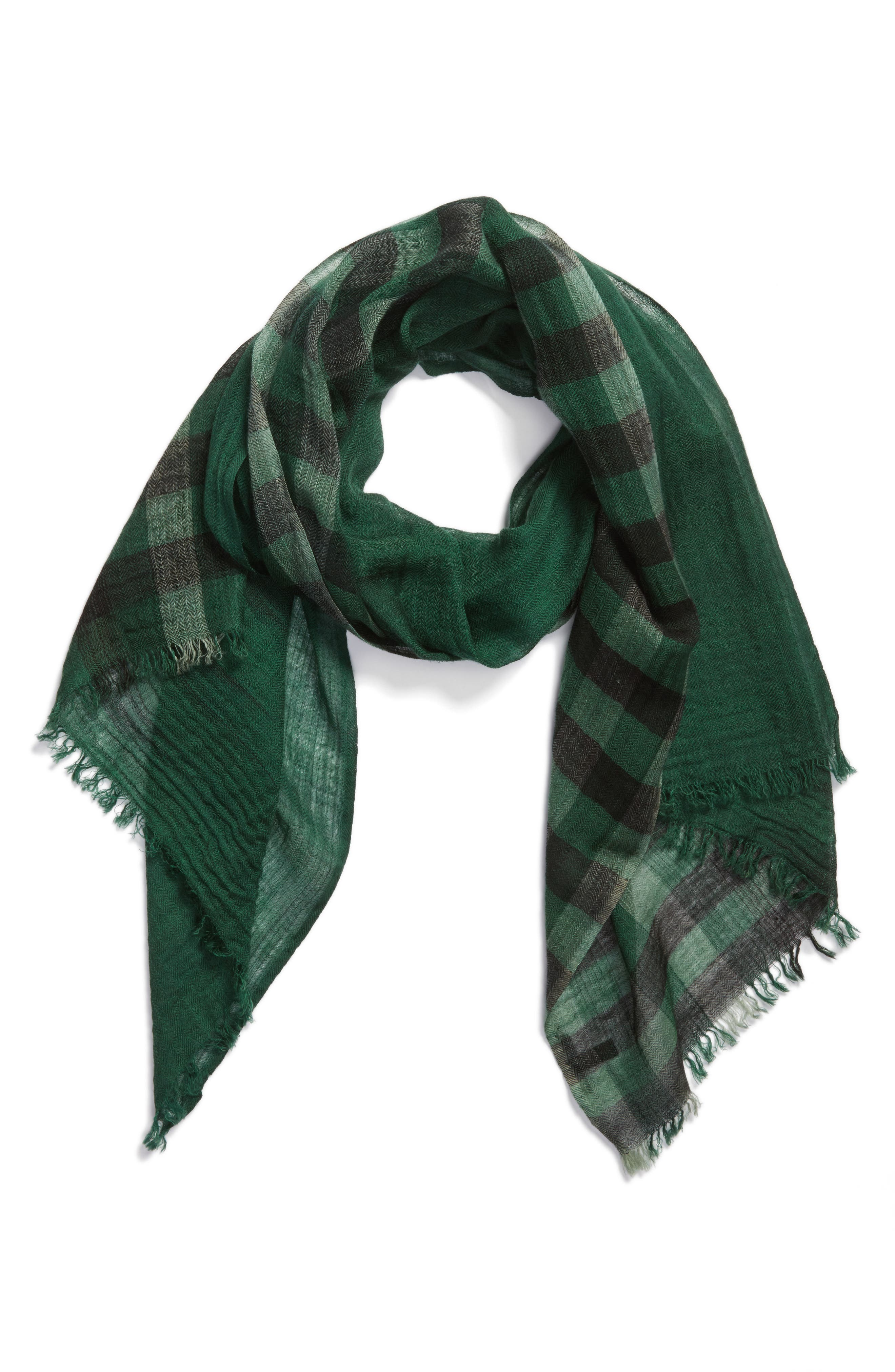 Plaid Wool Scarf,                             Alternate thumbnail 2, color,                             369