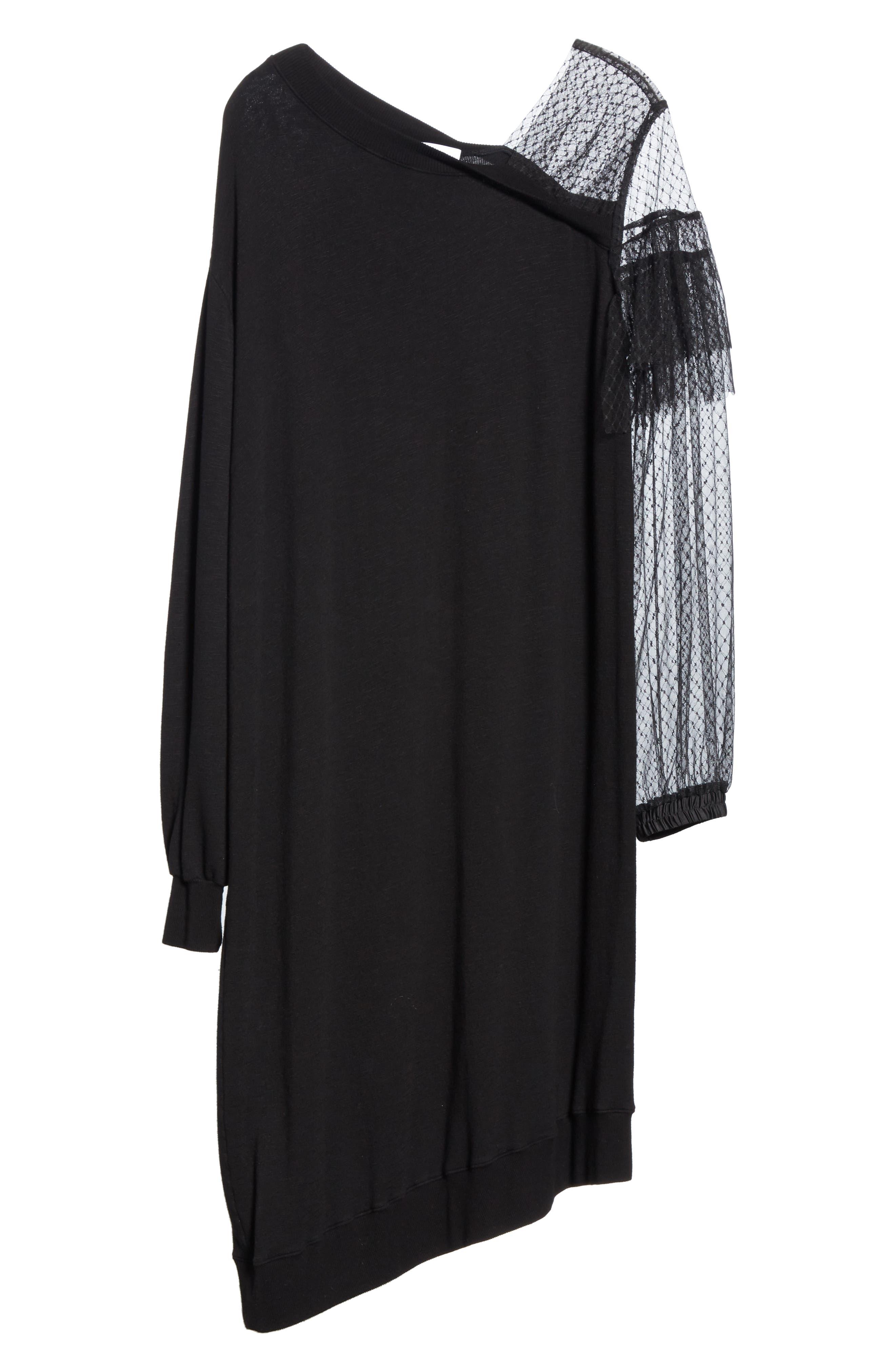 Mix Media Asymmetrical Hem Ruffle Dress,                             Alternate thumbnail 6, color,                             BLACK