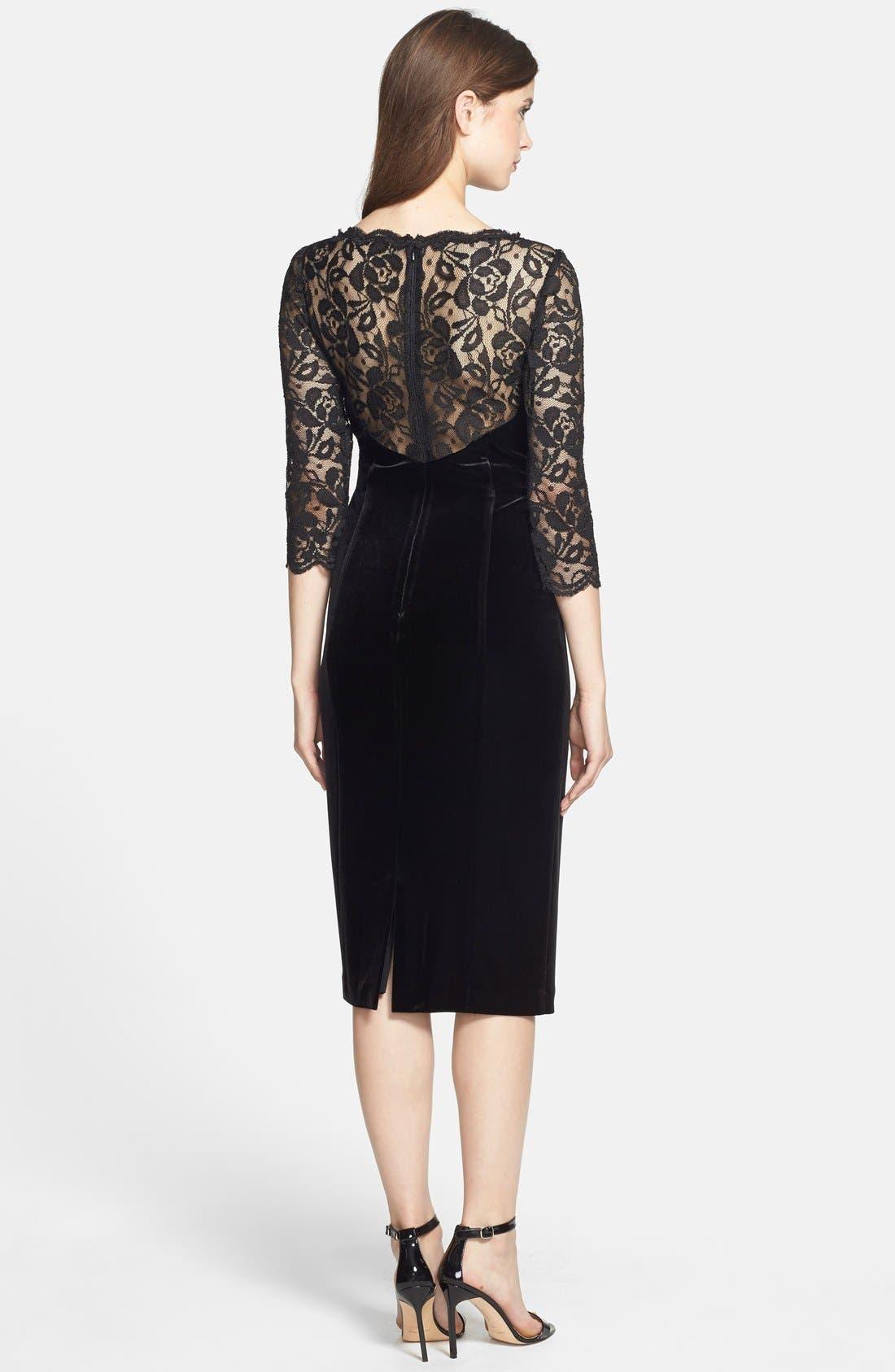 Lace & Velvet Sheath Dress,                             Alternate thumbnail 9, color,                             BLACK