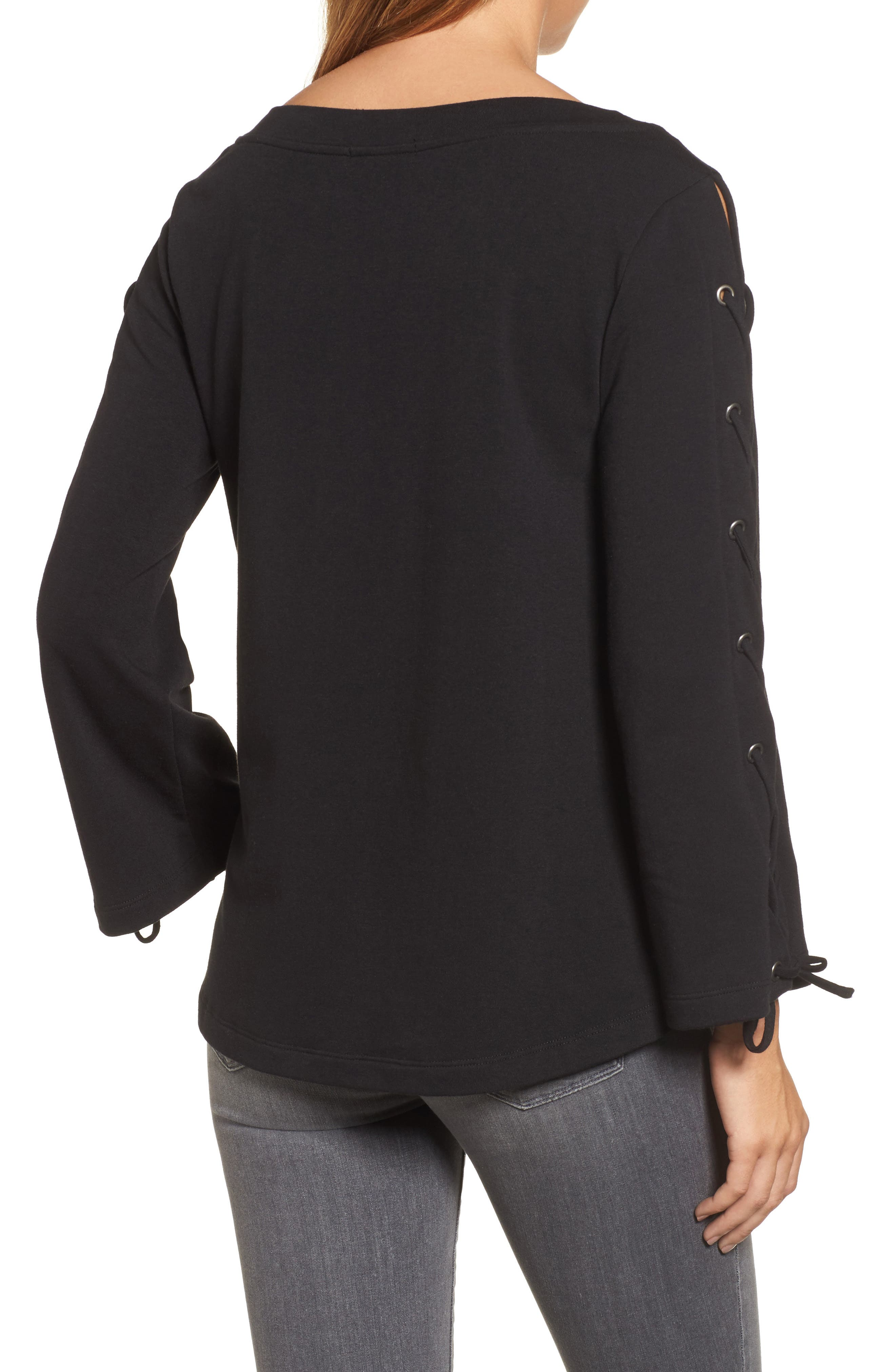 Wide Neck Lace-Up Sleeve Top,                             Alternate thumbnail 2, color,                             001