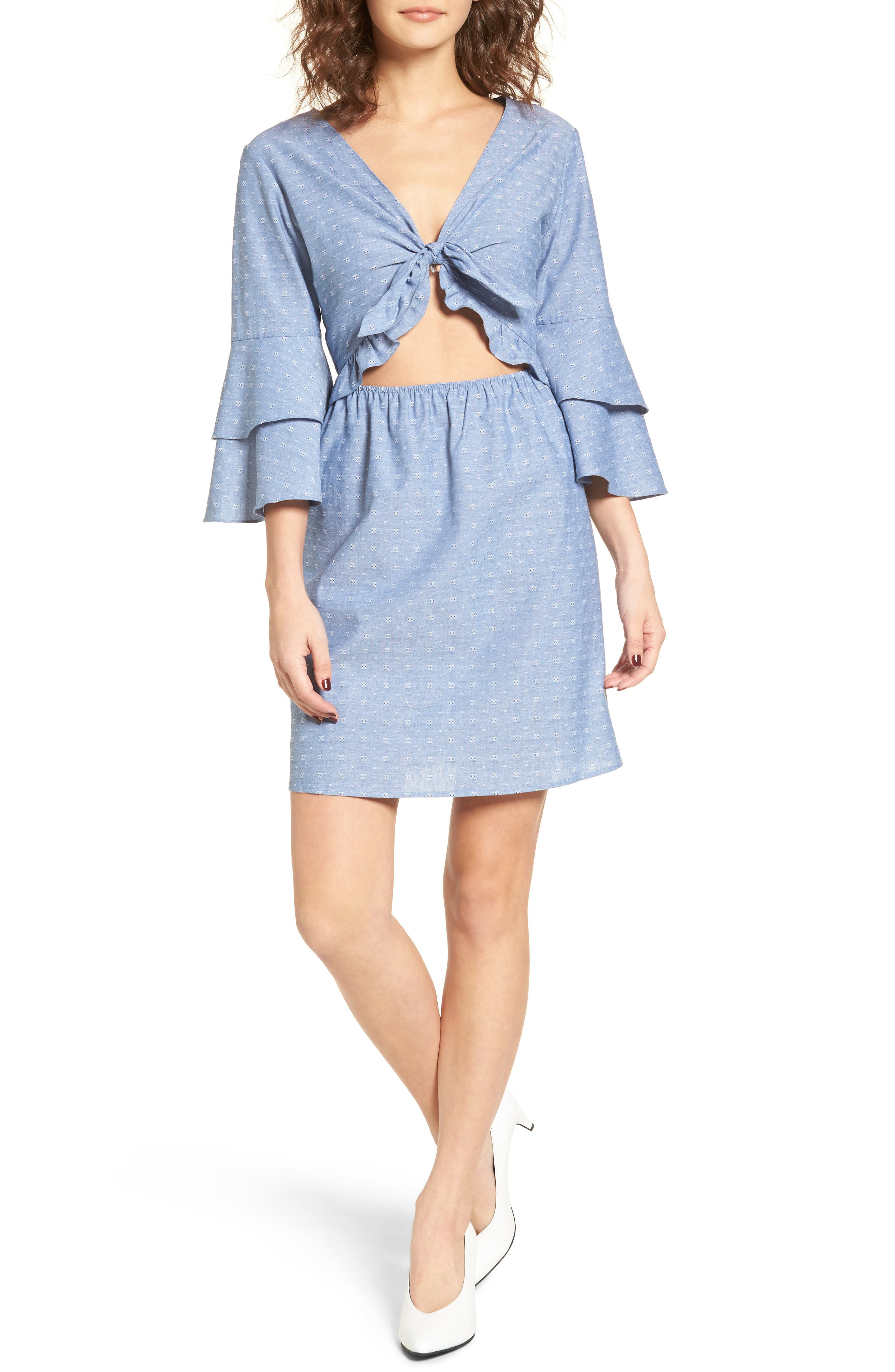 EVERLY,                             Cutout Tiered Sleeve Dress,                             Alternate thumbnail 5, color,                             400