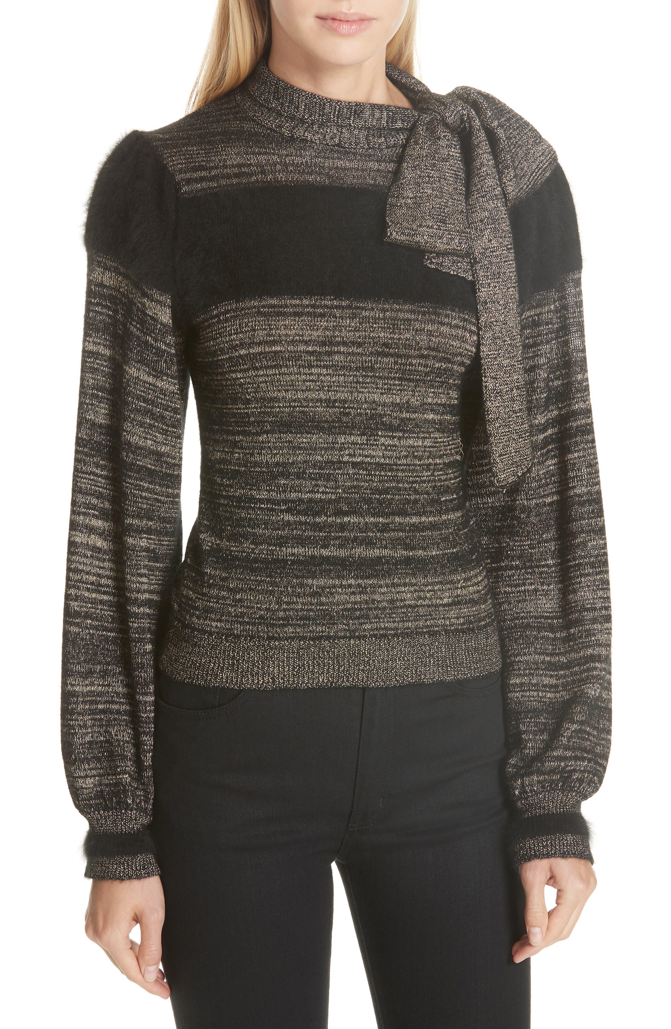 Fabia Tie Neck Cashmere Blend Sweater,                             Main thumbnail 1, color,                             NOIR
