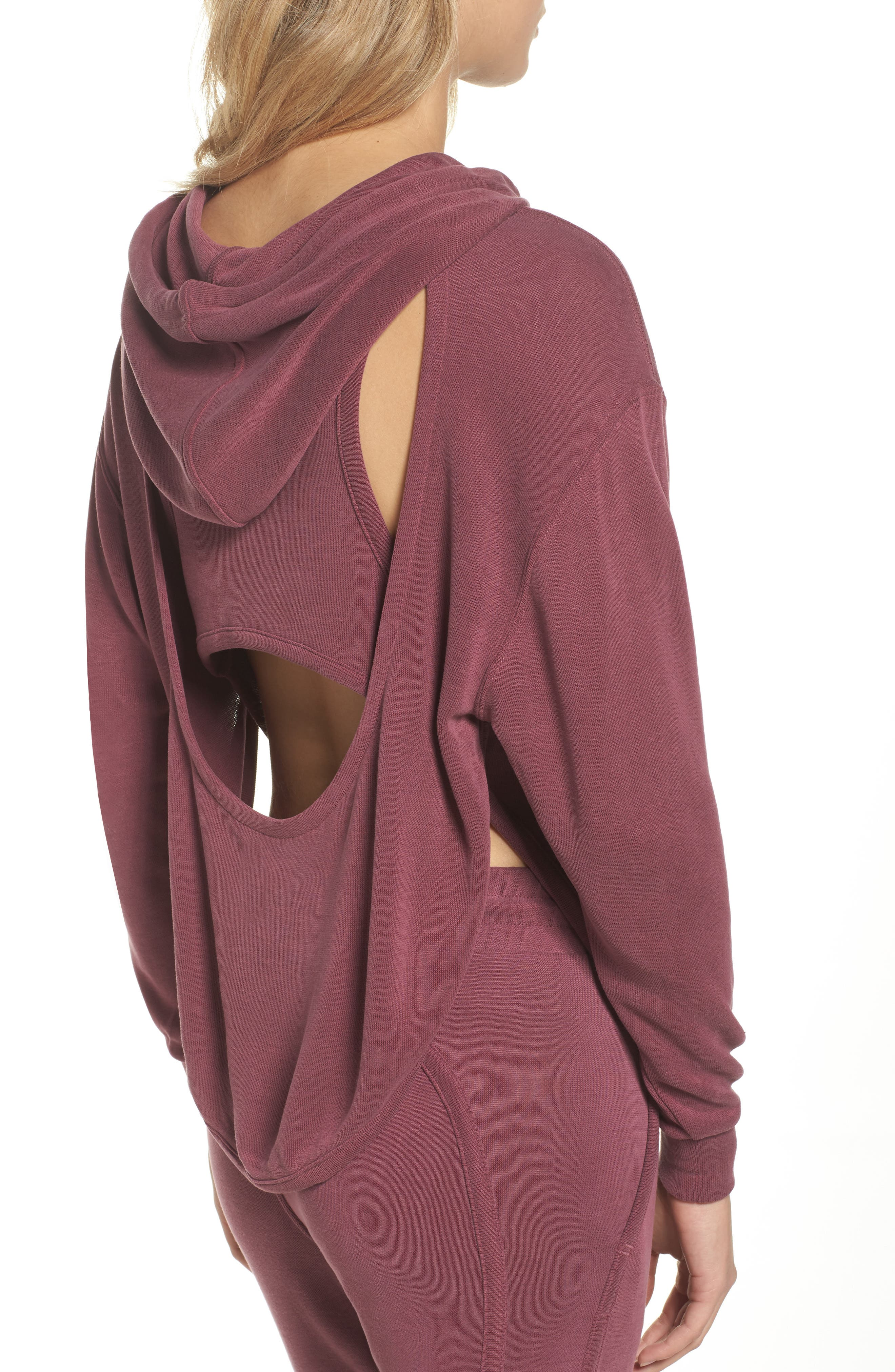 Back Into It Cutout Hoodie,                             Alternate thumbnail 4, color,                             WINE