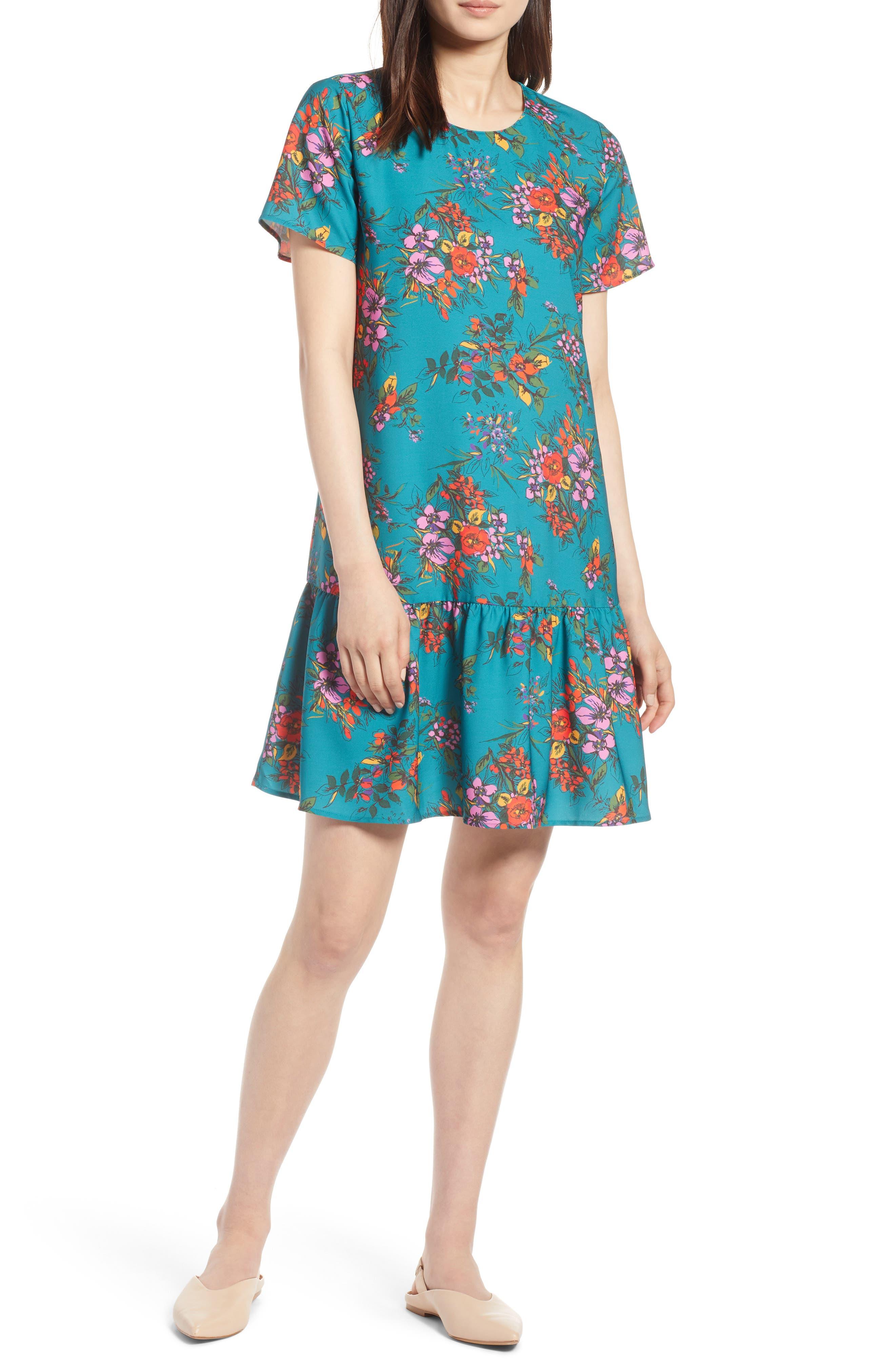 Short Sleeve Ruffle Hem Dress,                             Main thumbnail 4, color,