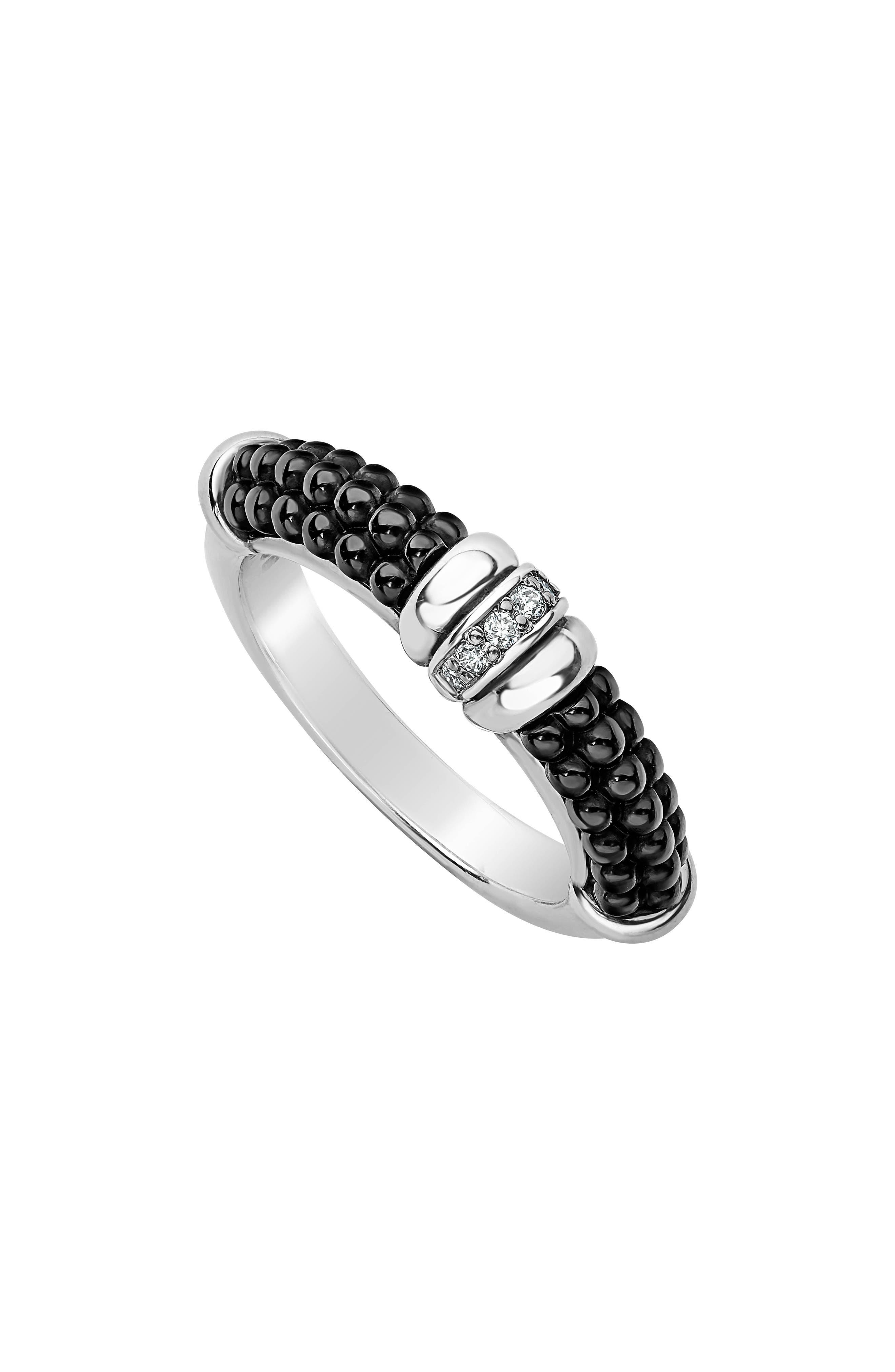 Black Caviar Diamond Stack Ring,                             Main thumbnail 1, color,                             SILVER/ BLACK
