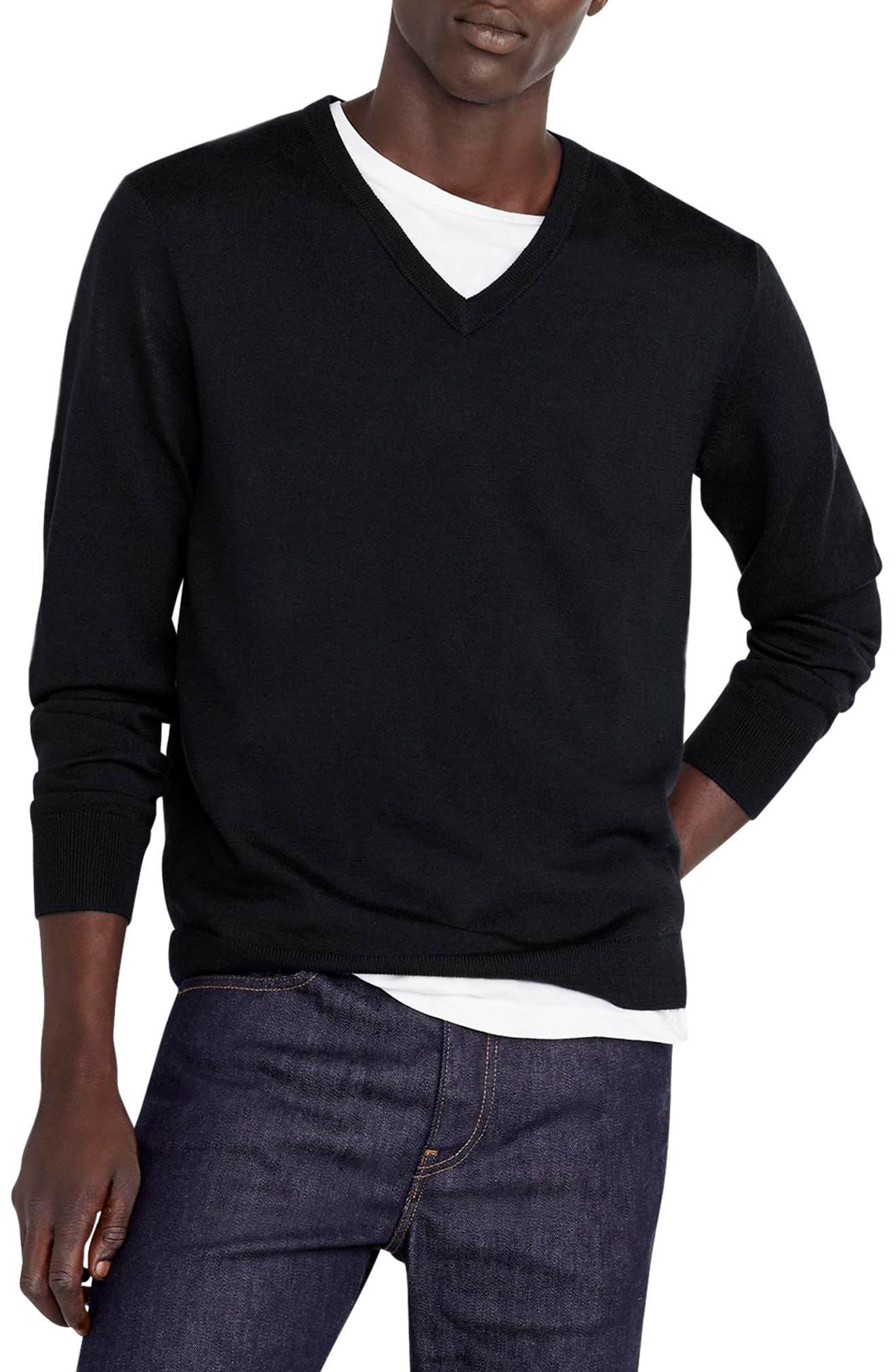 V-Neck Merino Wool Sweater,                             Main thumbnail 1, color,                             001