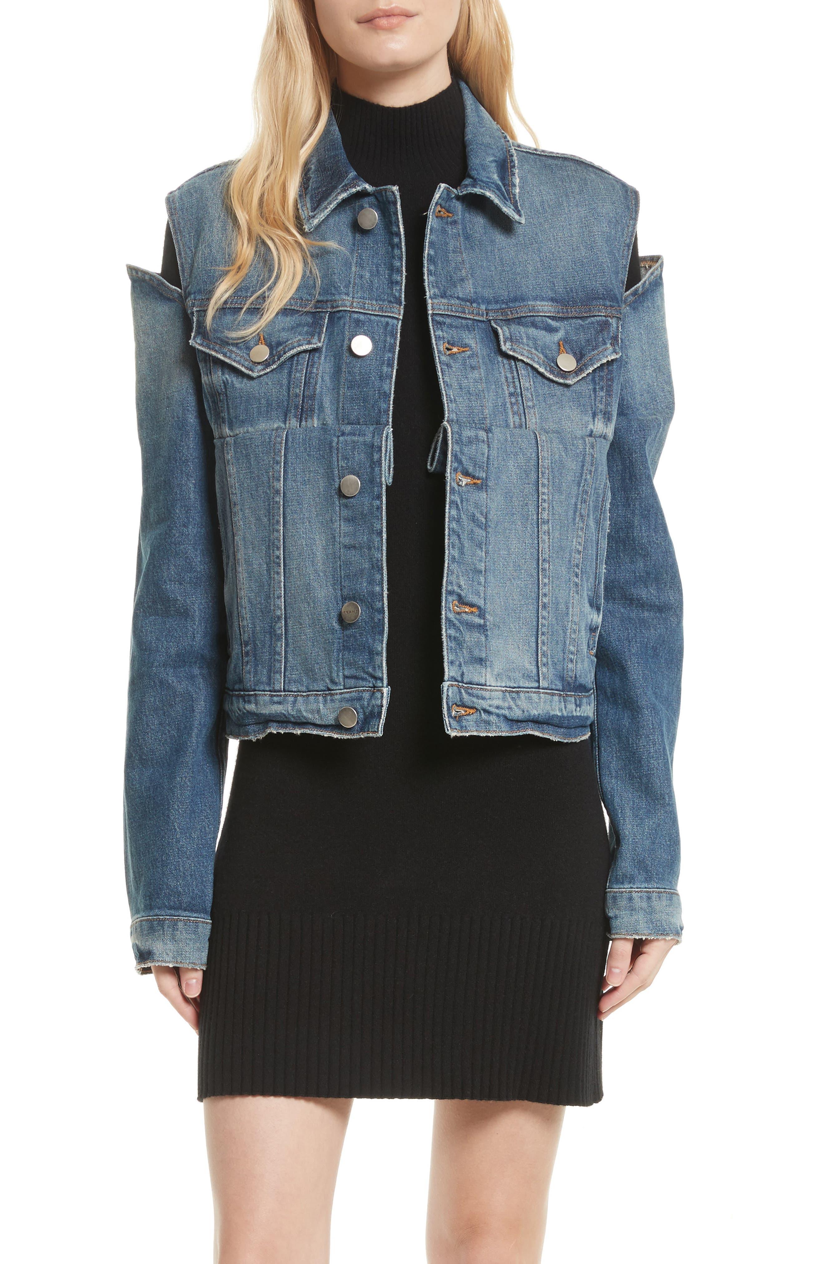 Le Cutout Denim Jacket,                         Main,                         color, BURKE