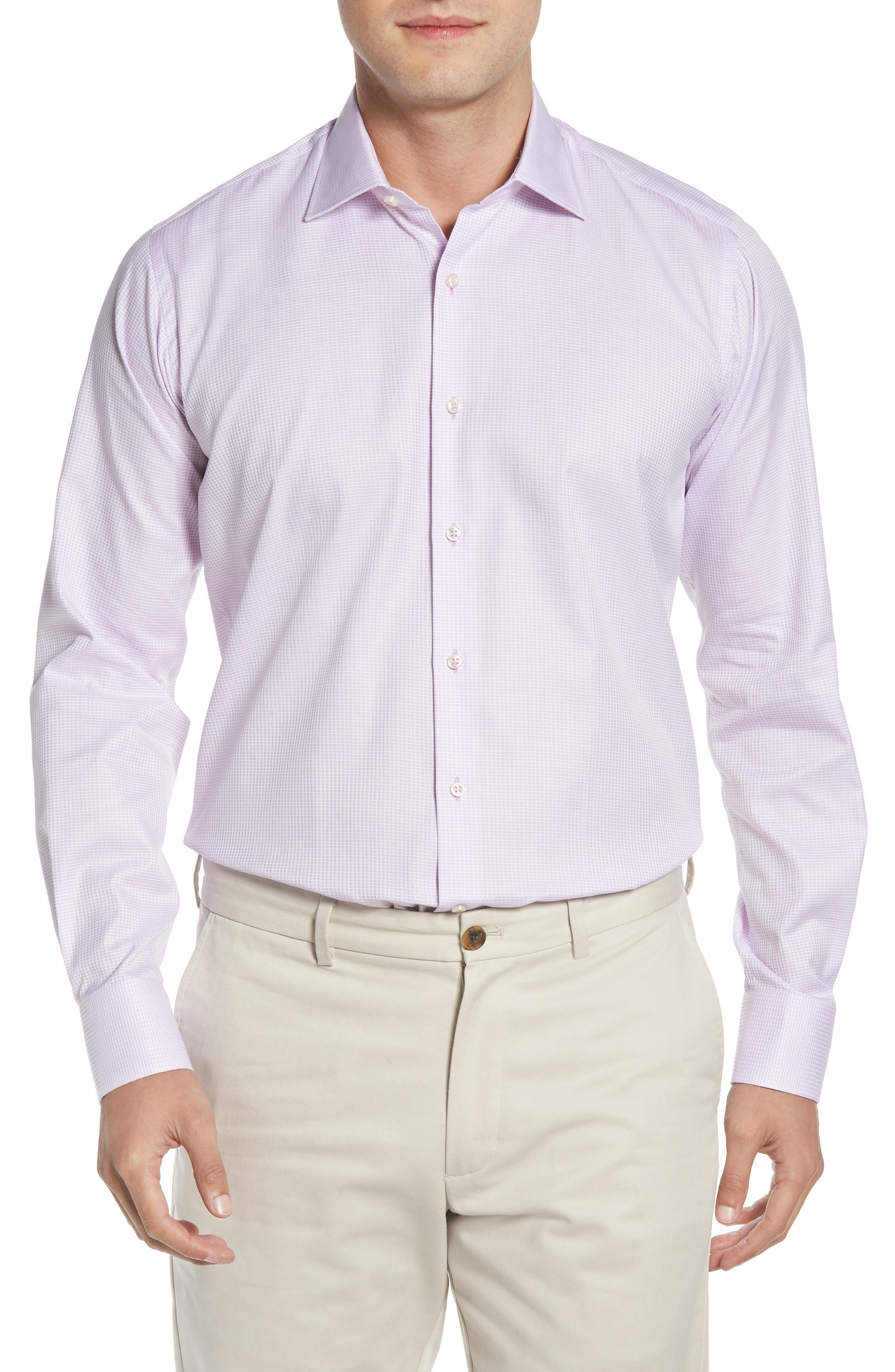 Regular Fit Solid Dress Shirt,                             Main thumbnail 1, color,                             PINK