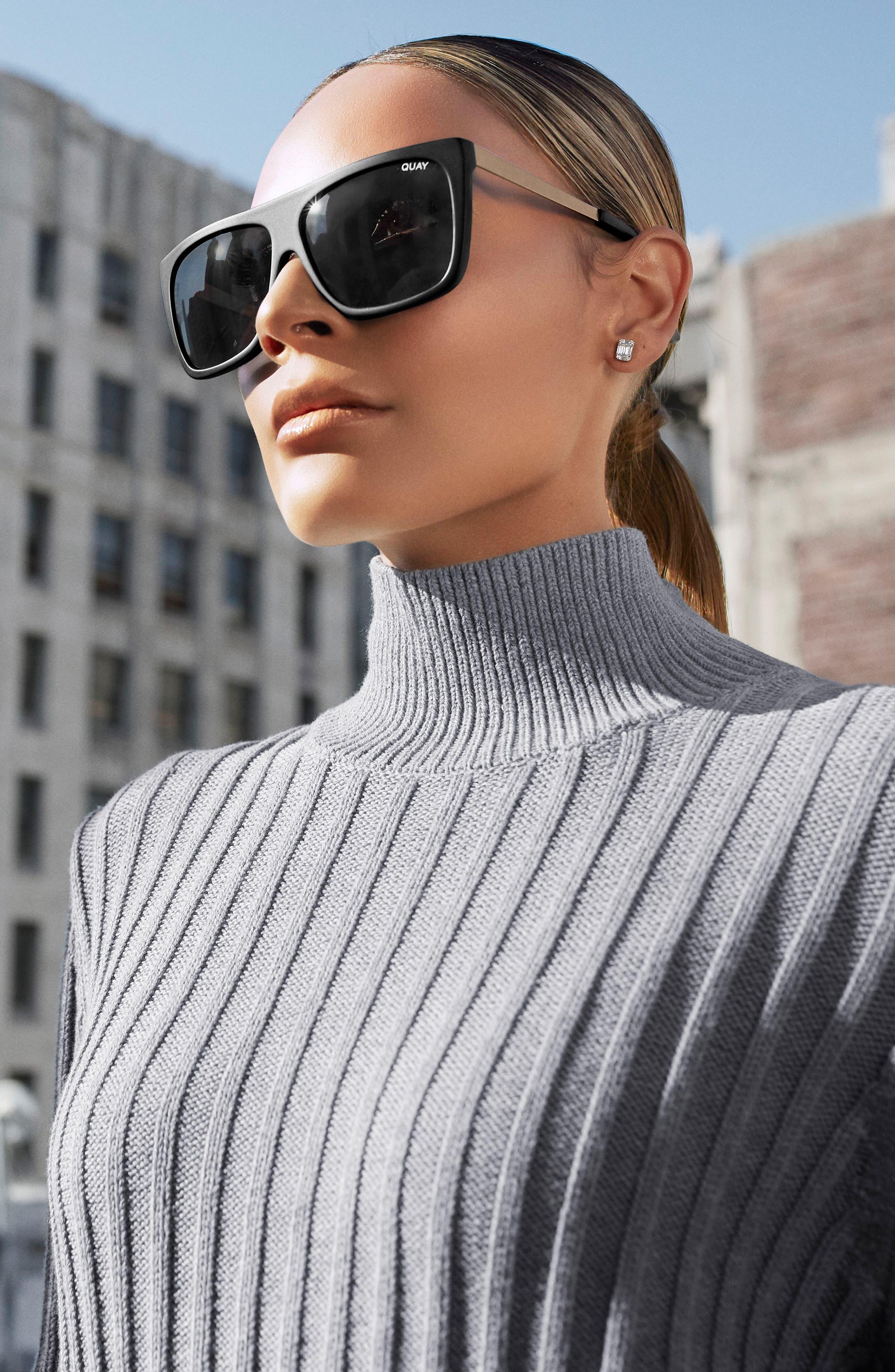 x Desi Perkins On the Low 60mm Square Sunglasses,                             Alternate thumbnail 5, color,                             BLACK/ SMOKE