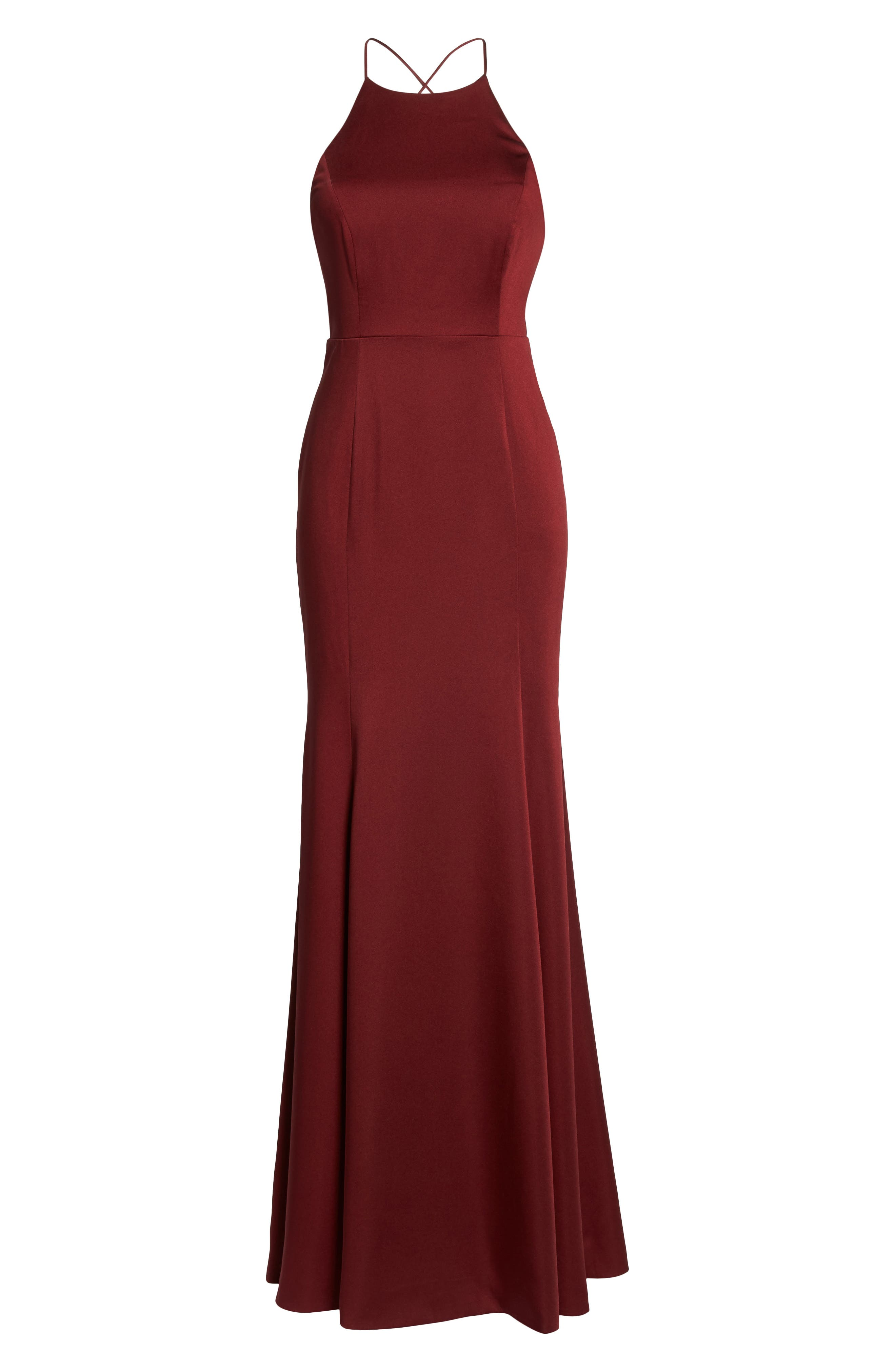 Naomi Luxe Crepe Halter Gown,                             Alternate thumbnail 7, color,                             CRANBERRY
