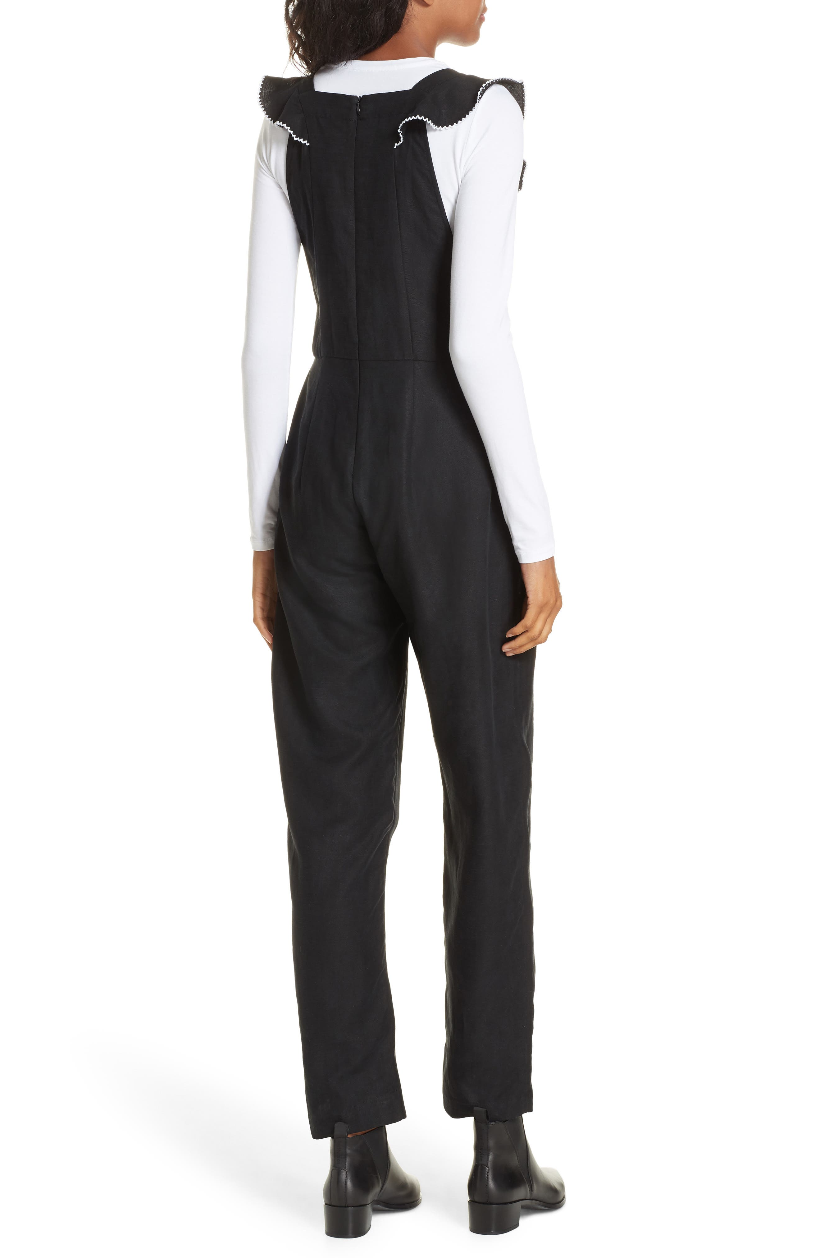 Flounced Embroidered Jumpsuit,                             Alternate thumbnail 3, color,                             BLACK