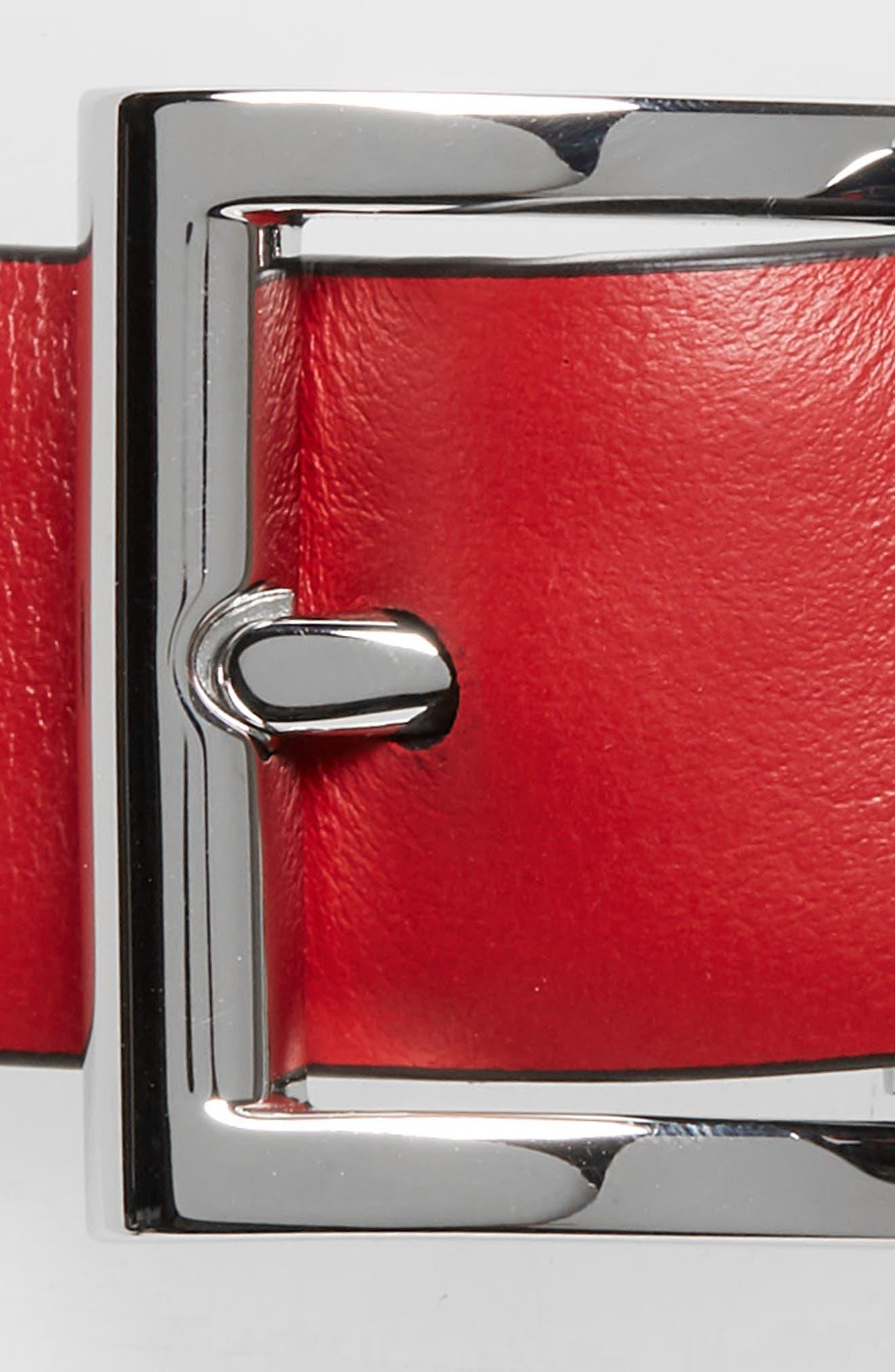 City Reversible Leather Belt,                             Alternate thumbnail 3, color,                             BLACK/ RED