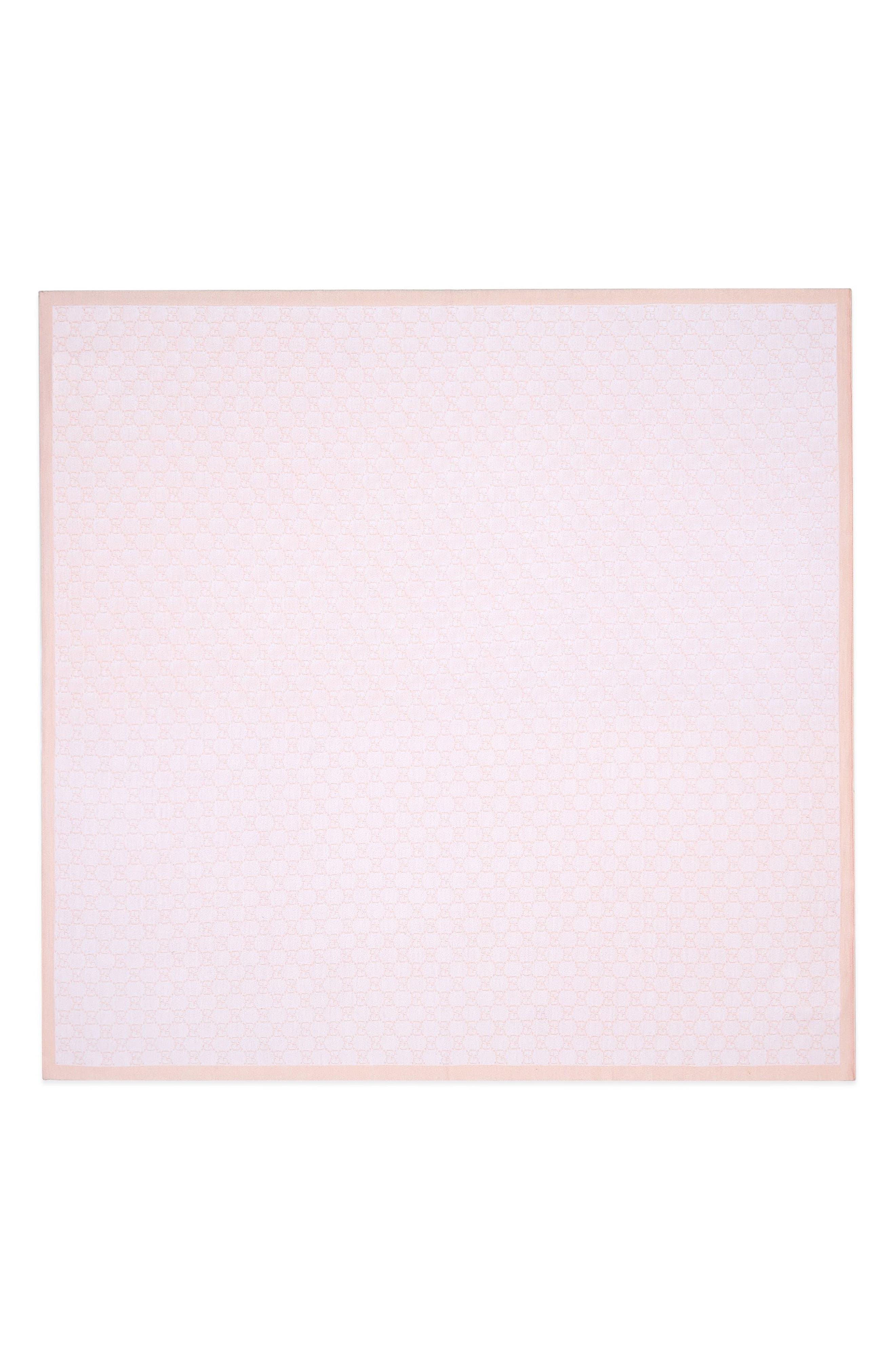 Interlock Logo Pattern Blanket,                         Main,                         color, IVORY/ PINK