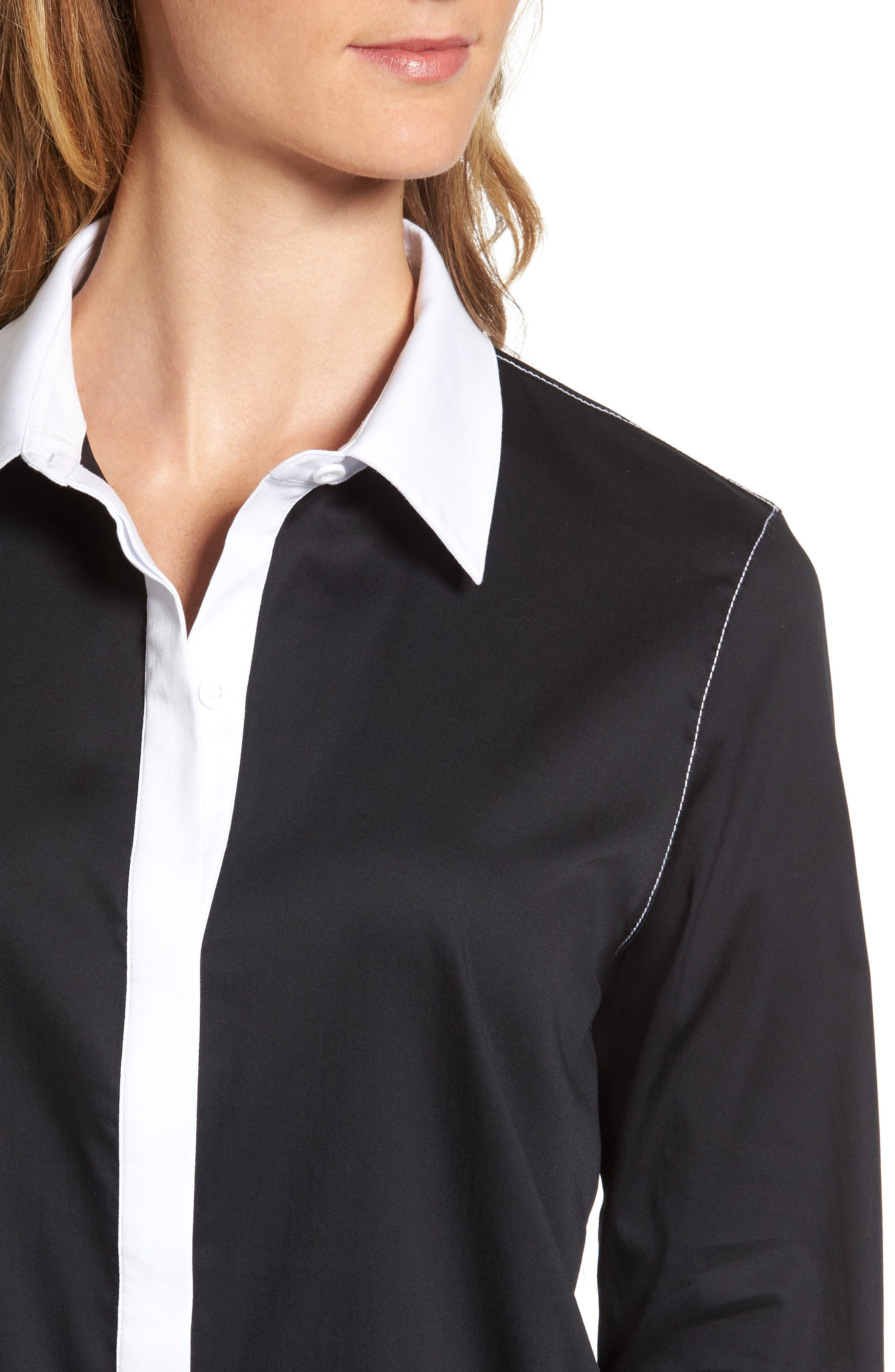 Contrast Trim Shirtdress,                             Alternate thumbnail 4, color,                             002
