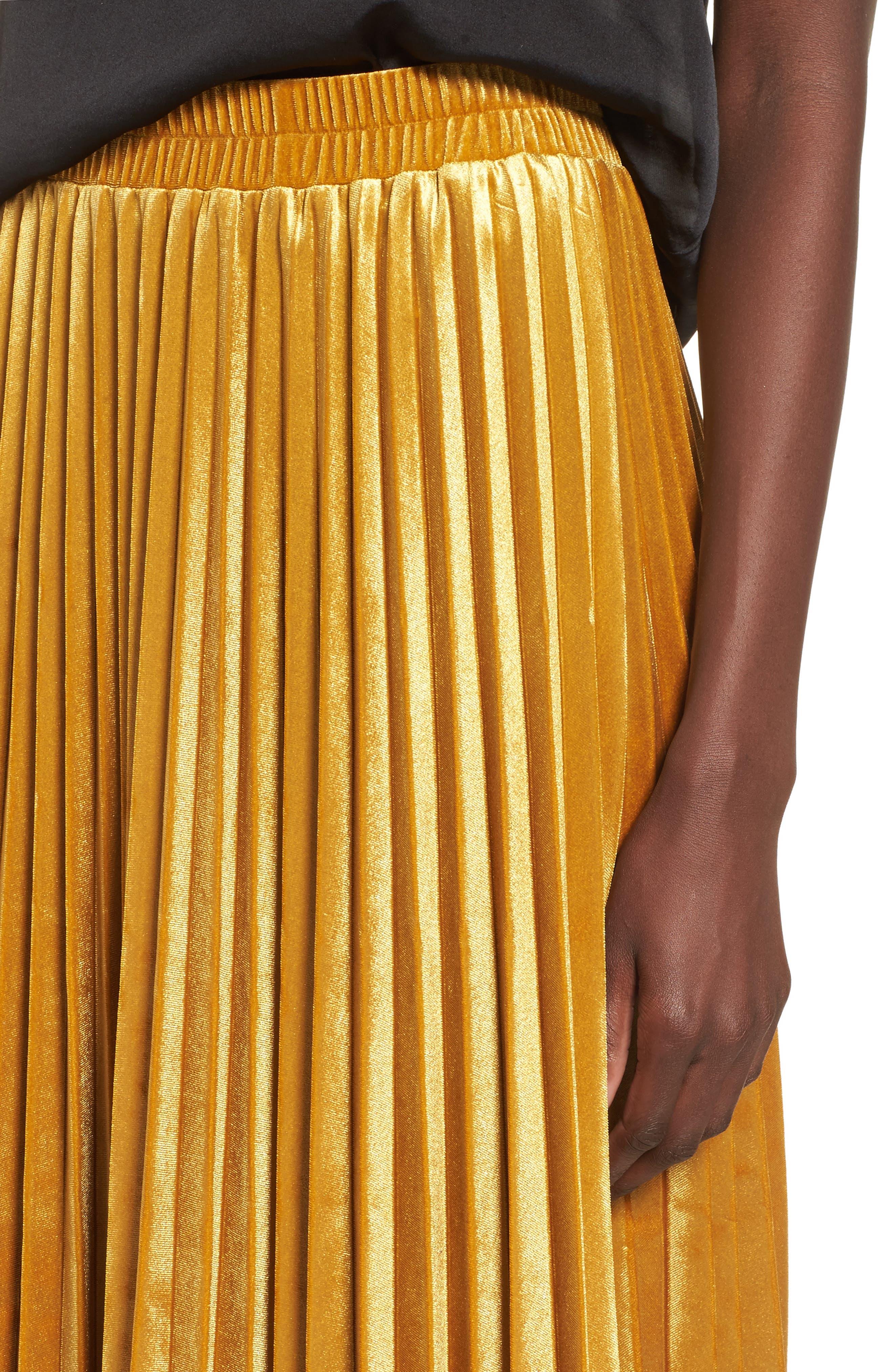 Pleated Velvet Skirt,                             Alternate thumbnail 4, color,