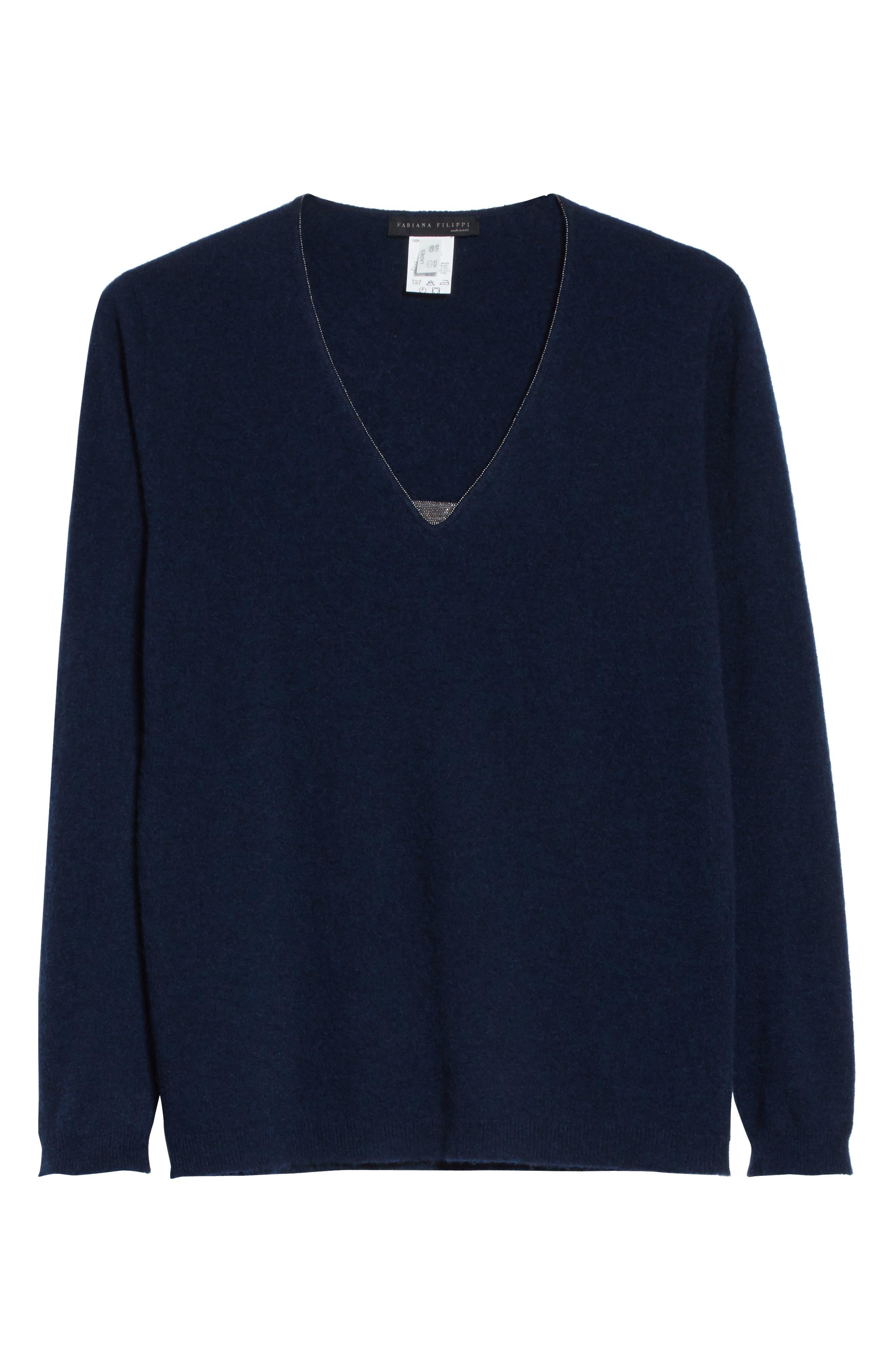 V-Neck Cashmere Sweater,                             Alternate thumbnail 12, color,