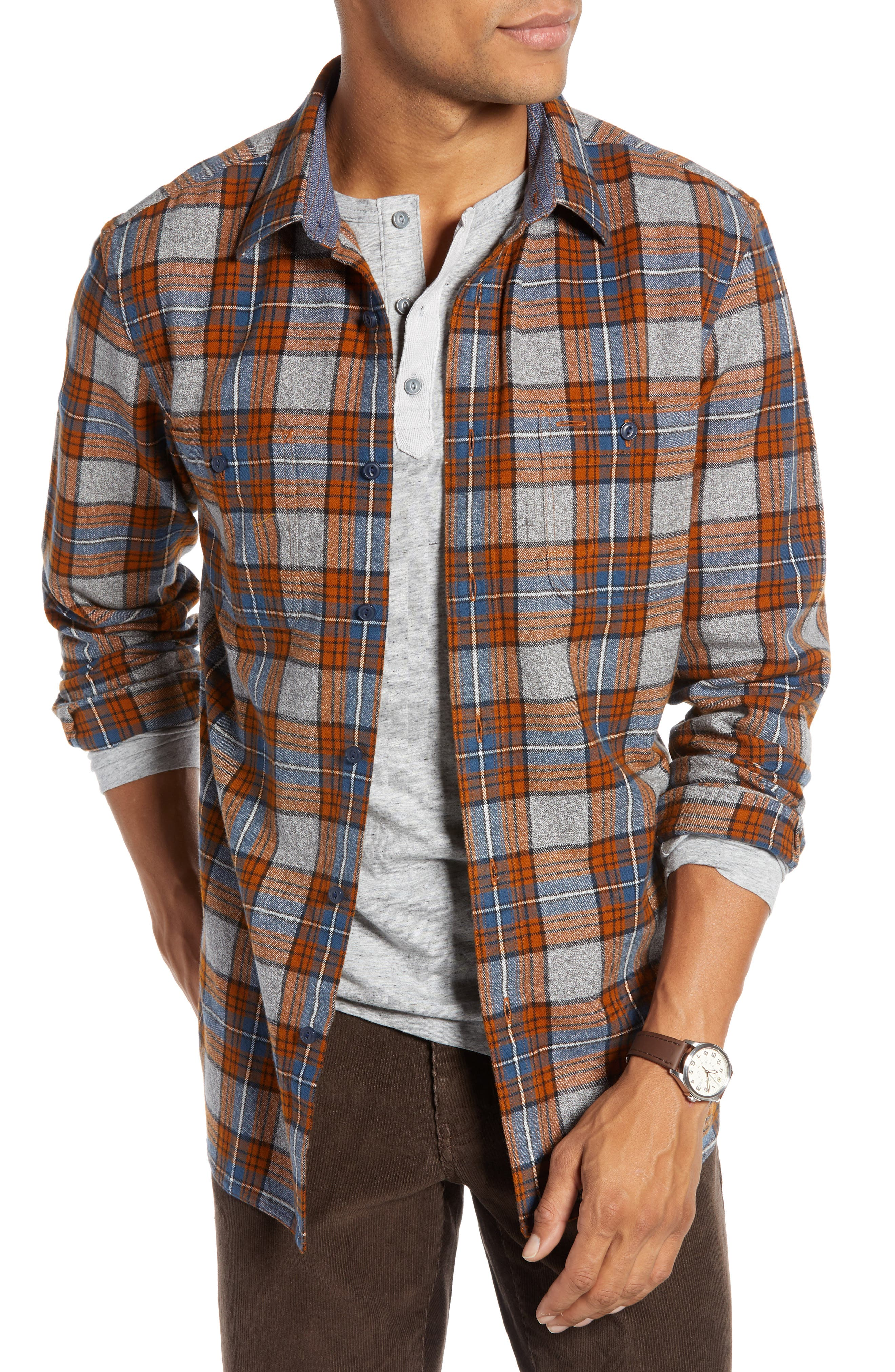 Regular Fit Workwear Plaid Flannel Shirt,                         Main,                         color, RUST AUTUMN BLUE PLAID