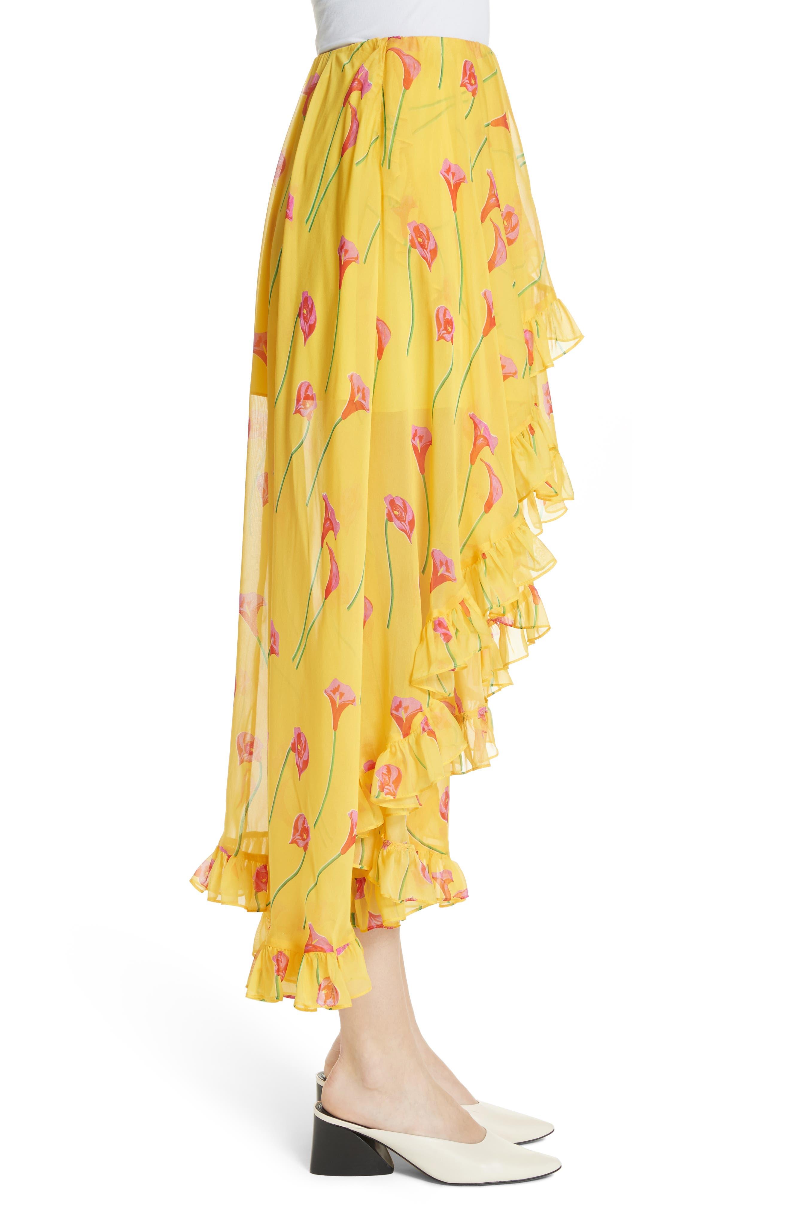 CAROLINE CONSTAS,                             Adelle Ruffle Trim High/Low Silk Skirt,                             Alternate thumbnail 3, color,                             720