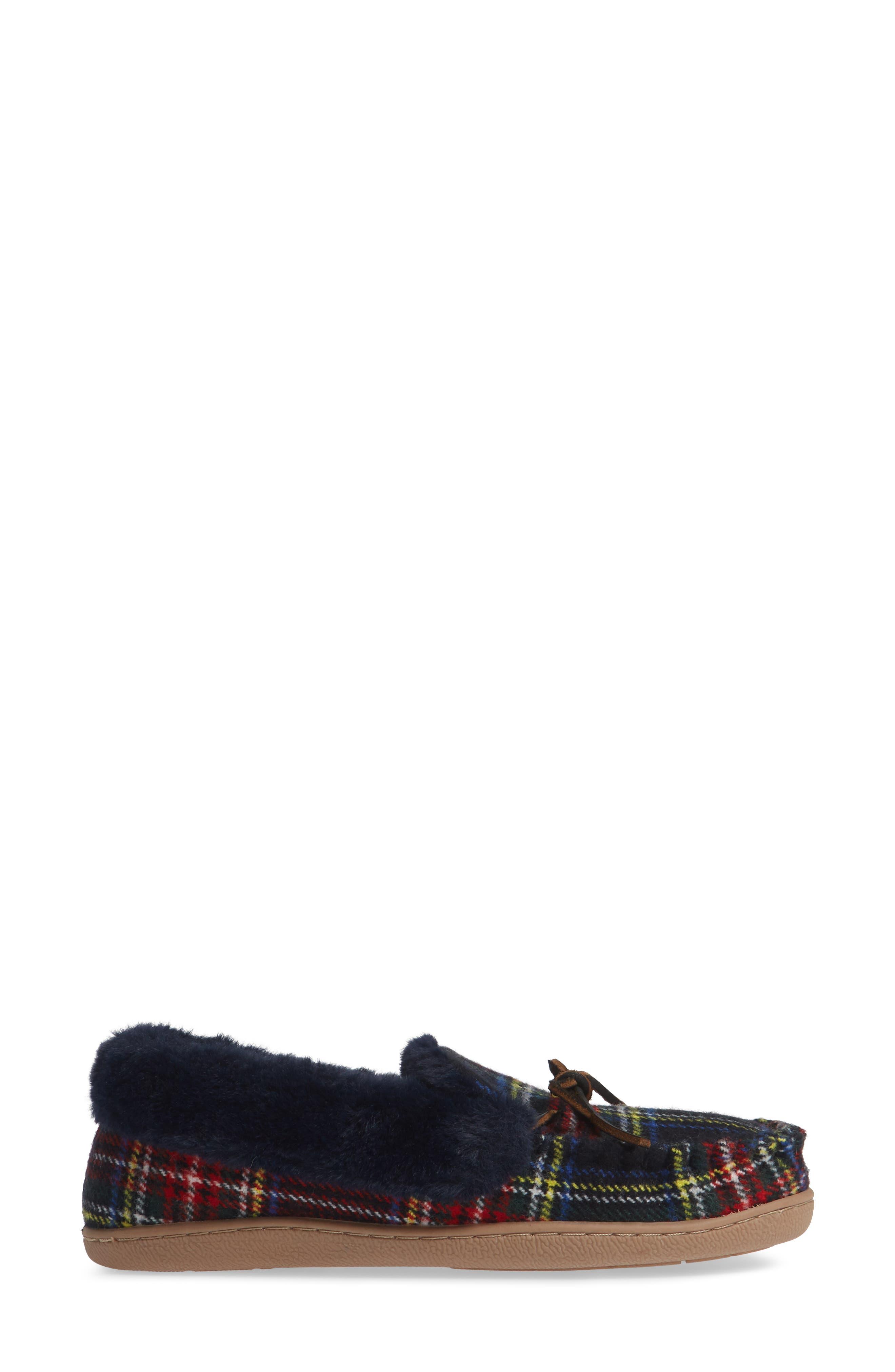 Poppy Moc Slipper,                             Alternate thumbnail 3, color,                             NAVY/ RED PLAID FABRIC