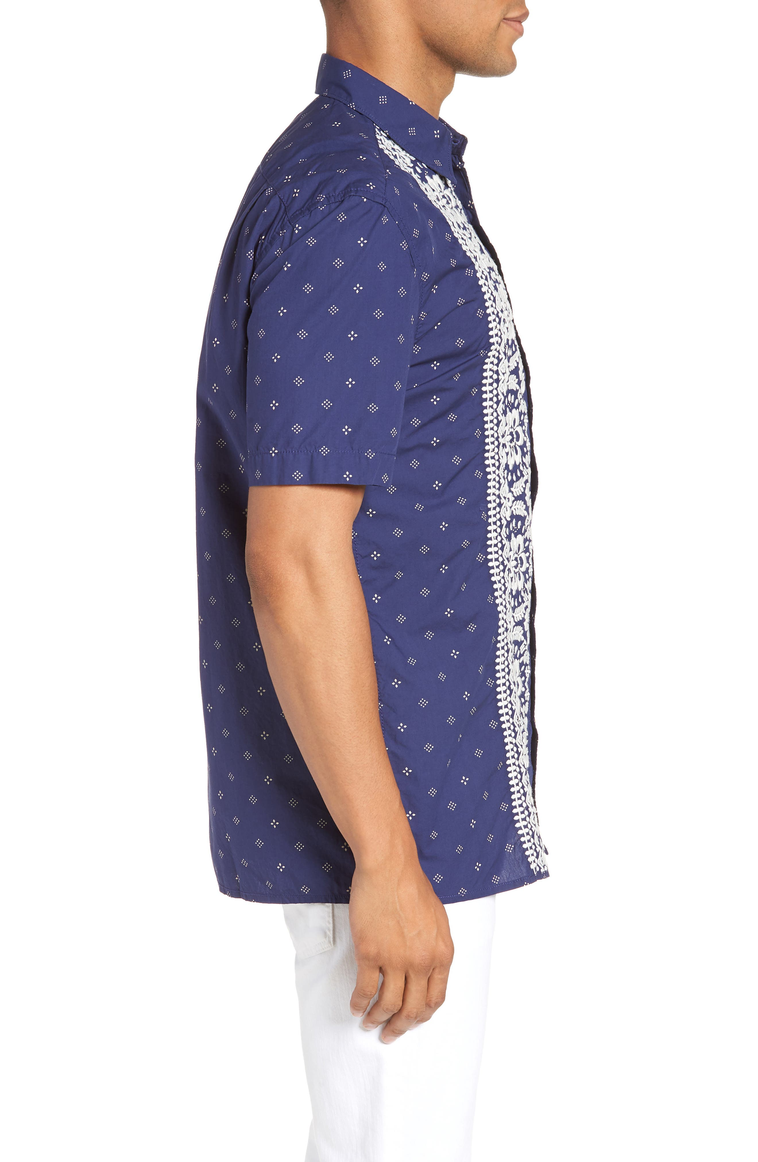 Iki Lawn Embroidered Shirt,                             Alternate thumbnail 3, color,                             PATRIOT BLUE TURTLE DOVE