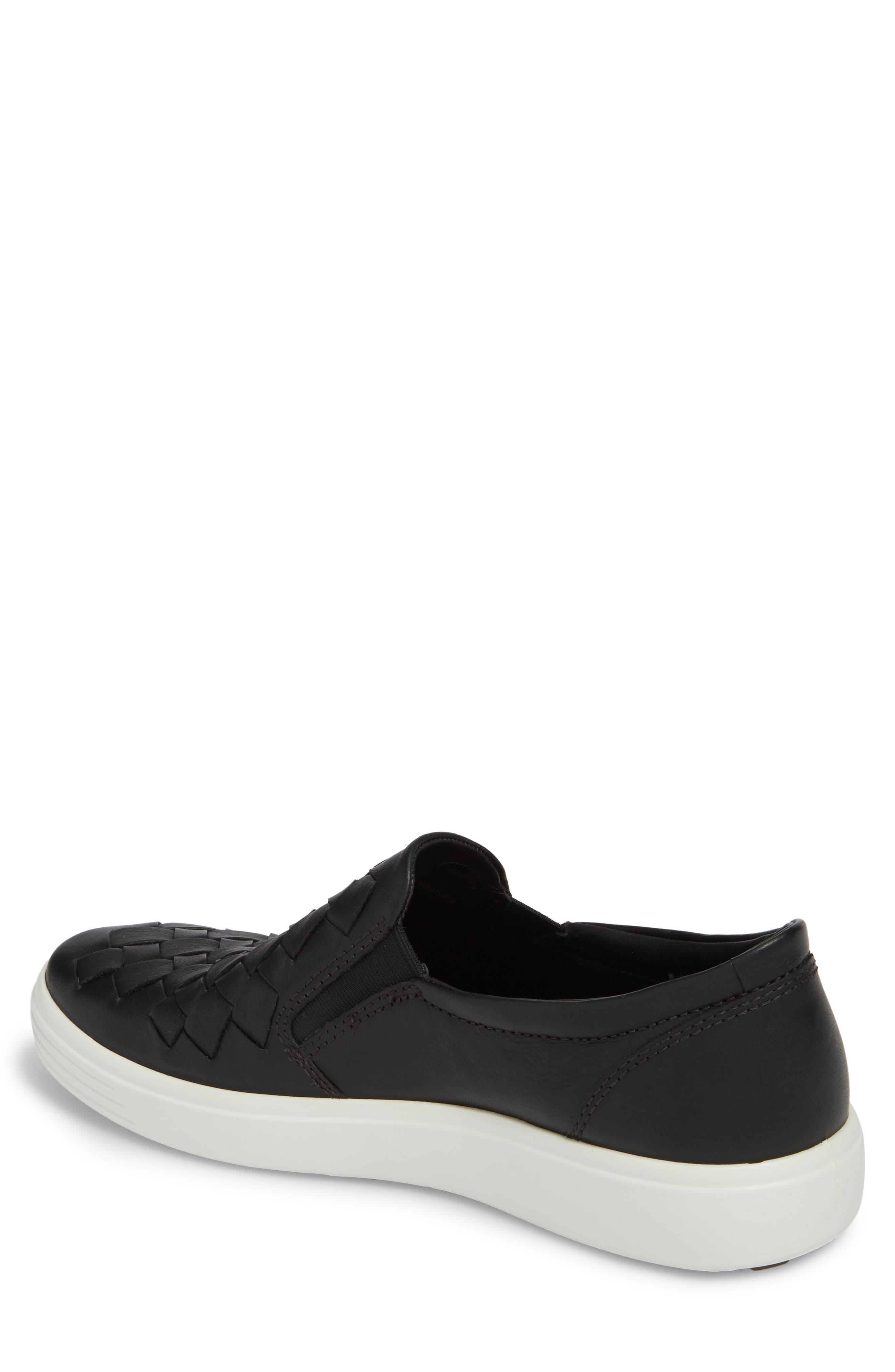 Soft 7 Woven Slip-On Sneaker,                             Alternate thumbnail 2, color,                             BLACK LEATHER