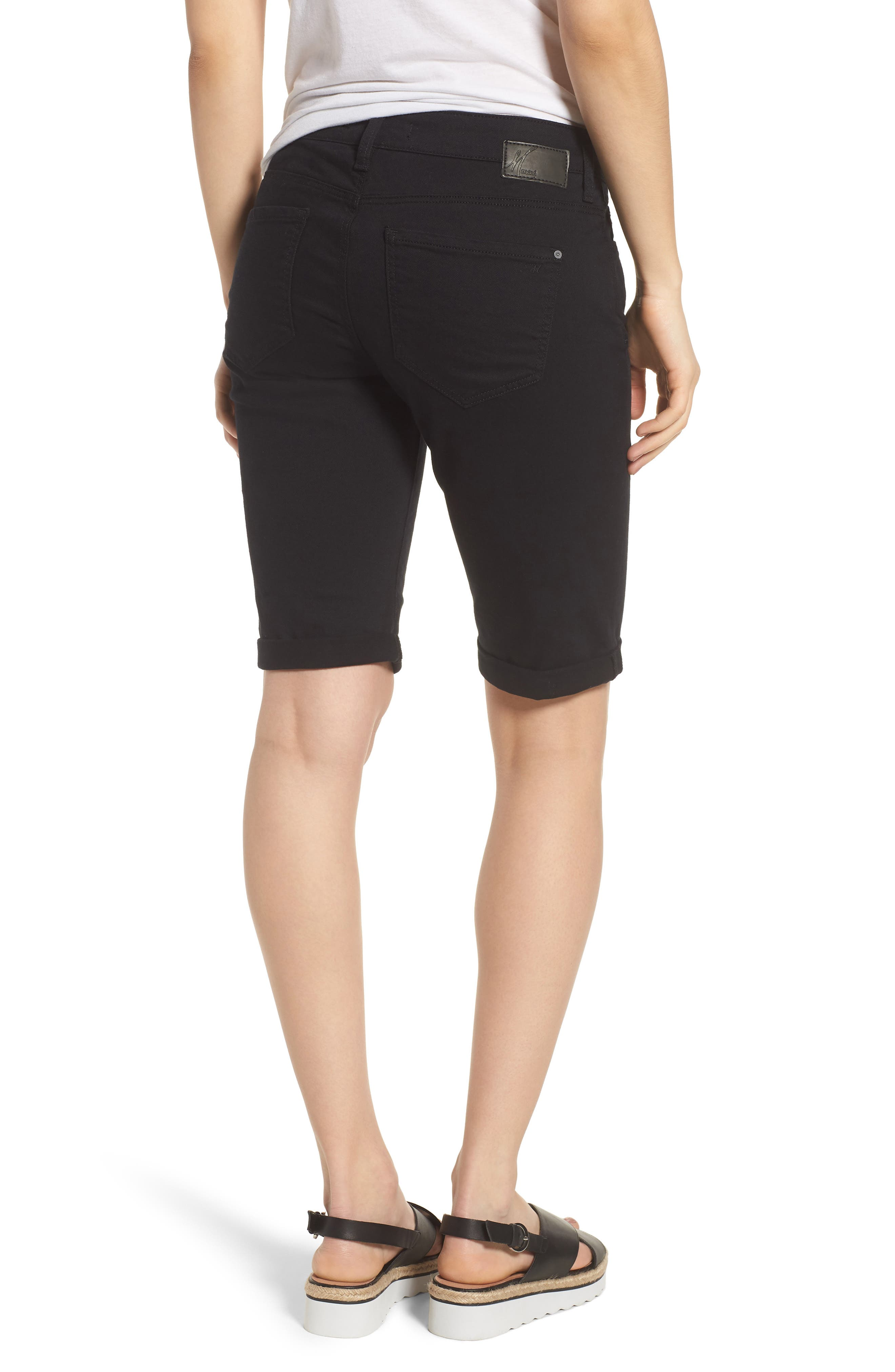 Karly Black Nolita Roll Cuff Bermuda Shorts,                             Alternate thumbnail 2, color,                             001