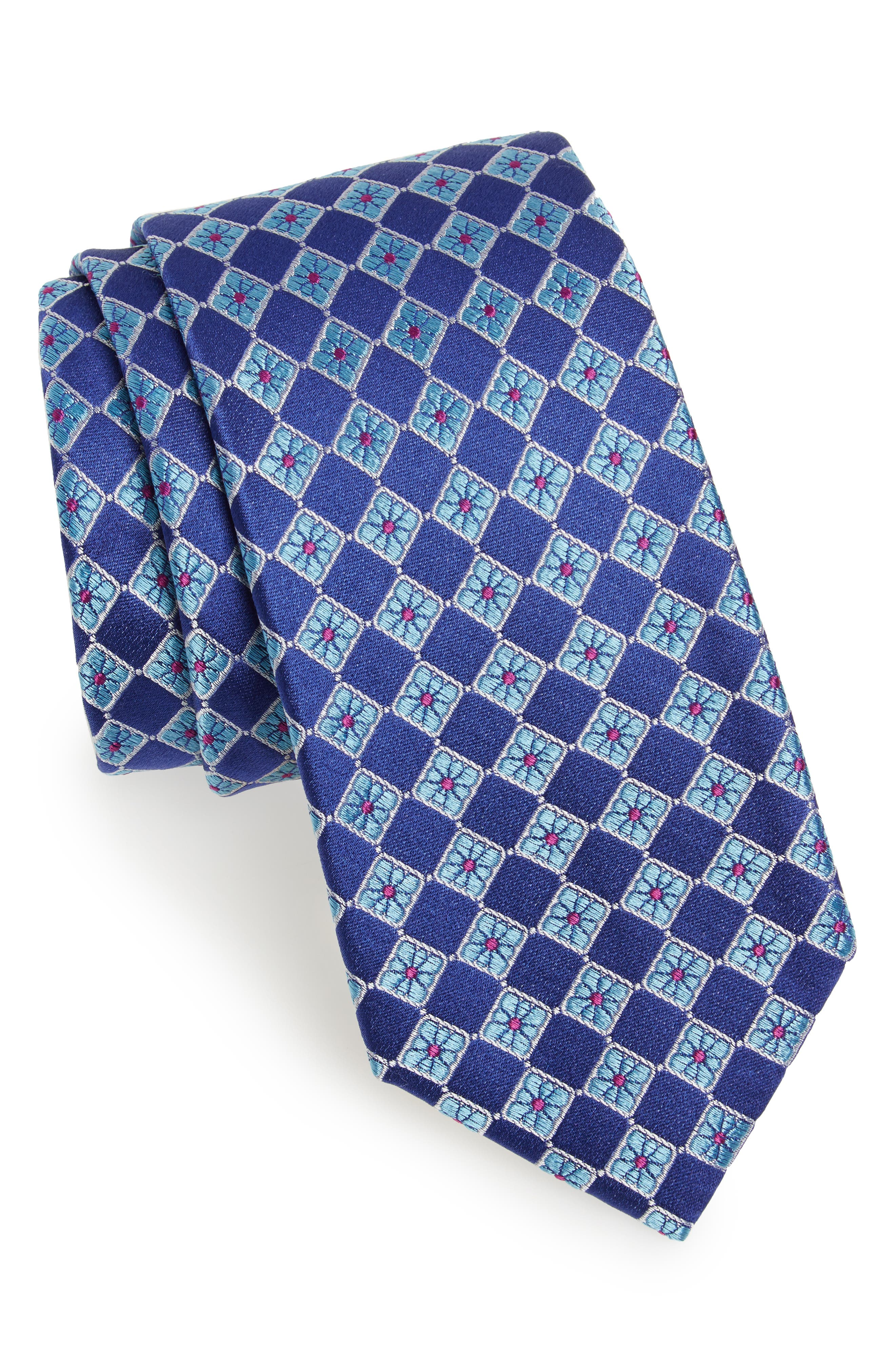 Floral Squares Silk Tie,                         Main,                         color, 420