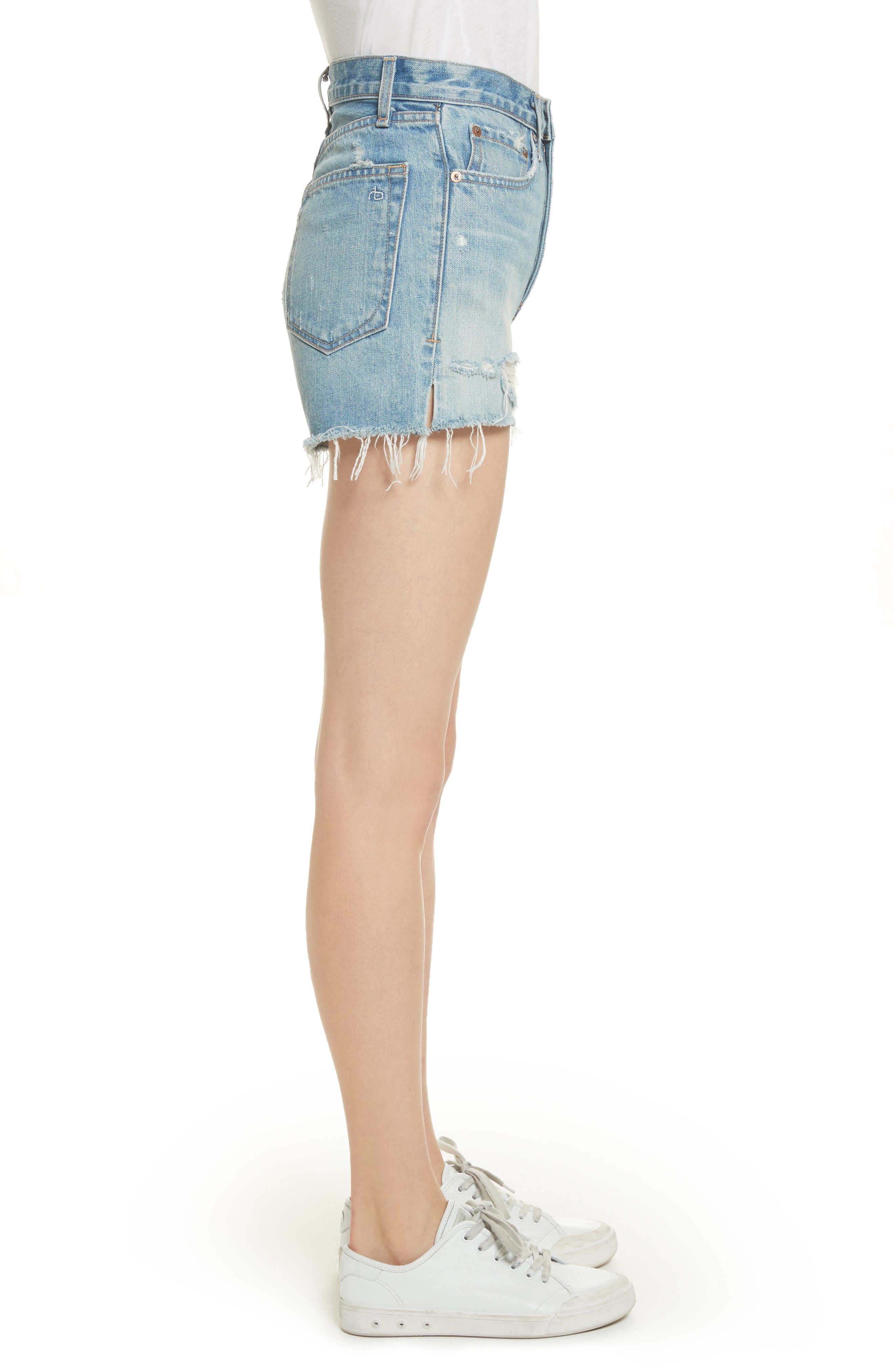 Justine High Waist Cutoff Denim Shorts,                             Alternate thumbnail 3, color,                             450