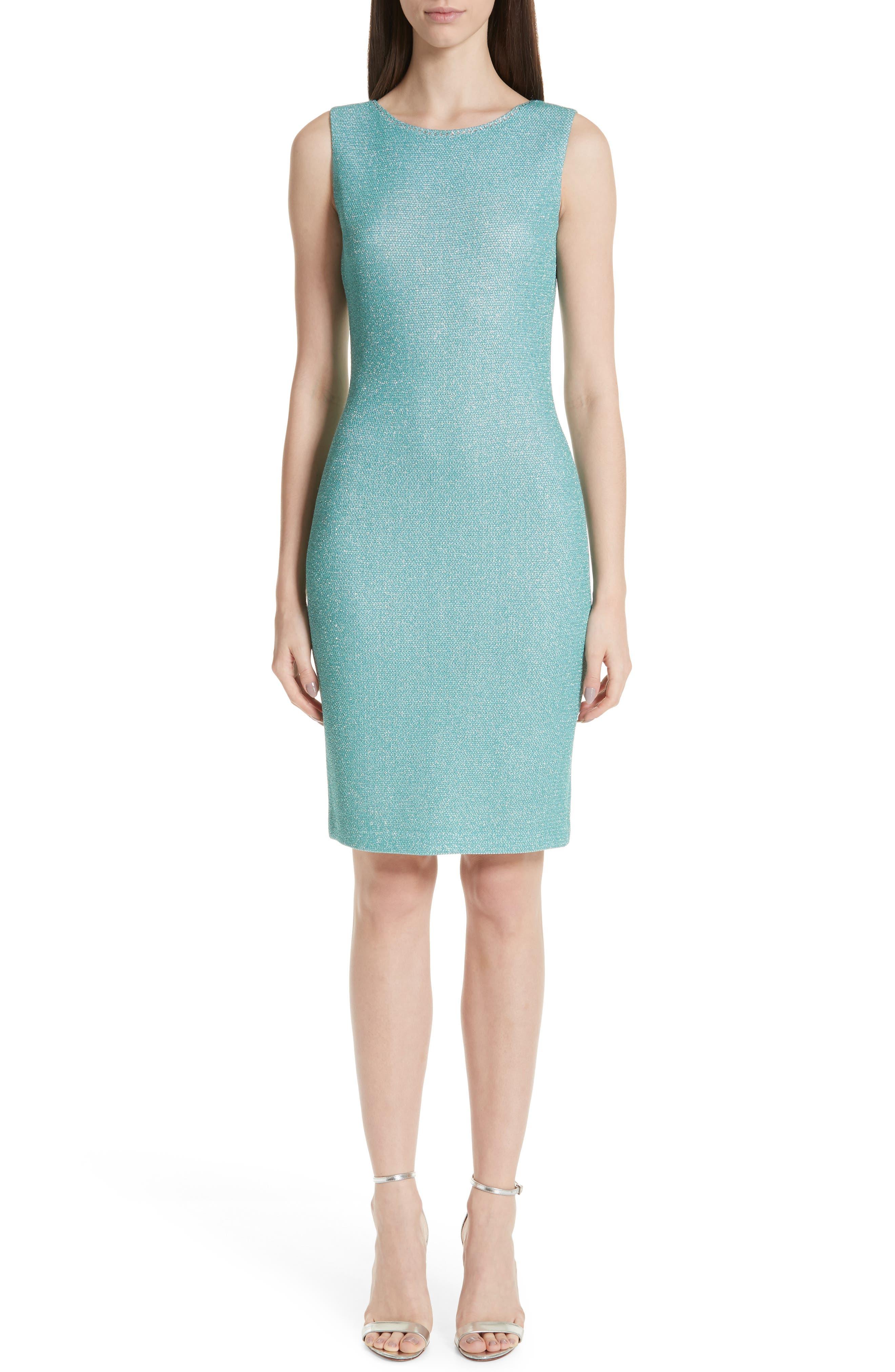 St. John Collection Bailey Knit Sheath Dress, Green