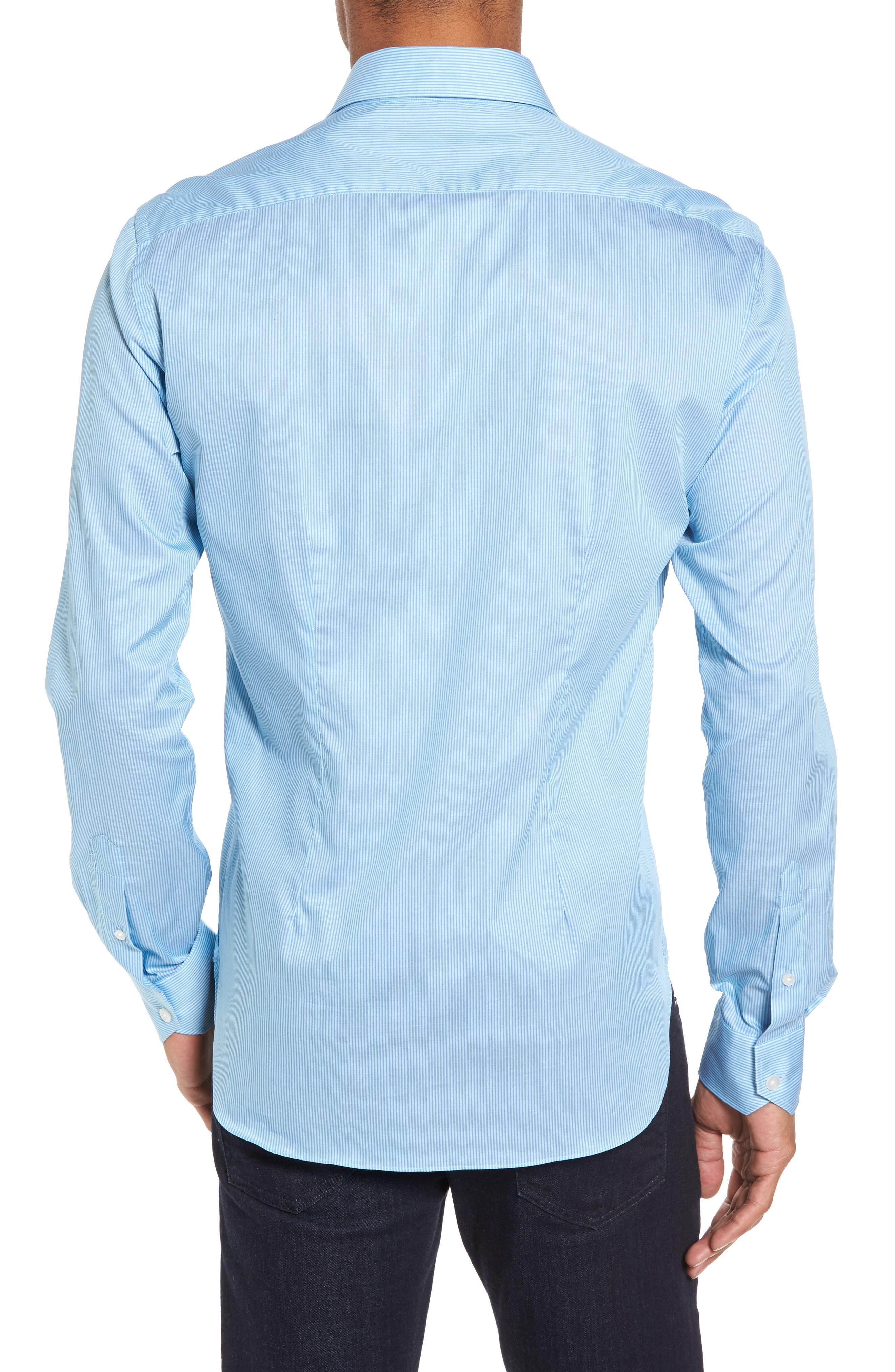 Slim Fit Stripe Twill Sport Shirt,                             Alternate thumbnail 2, color,