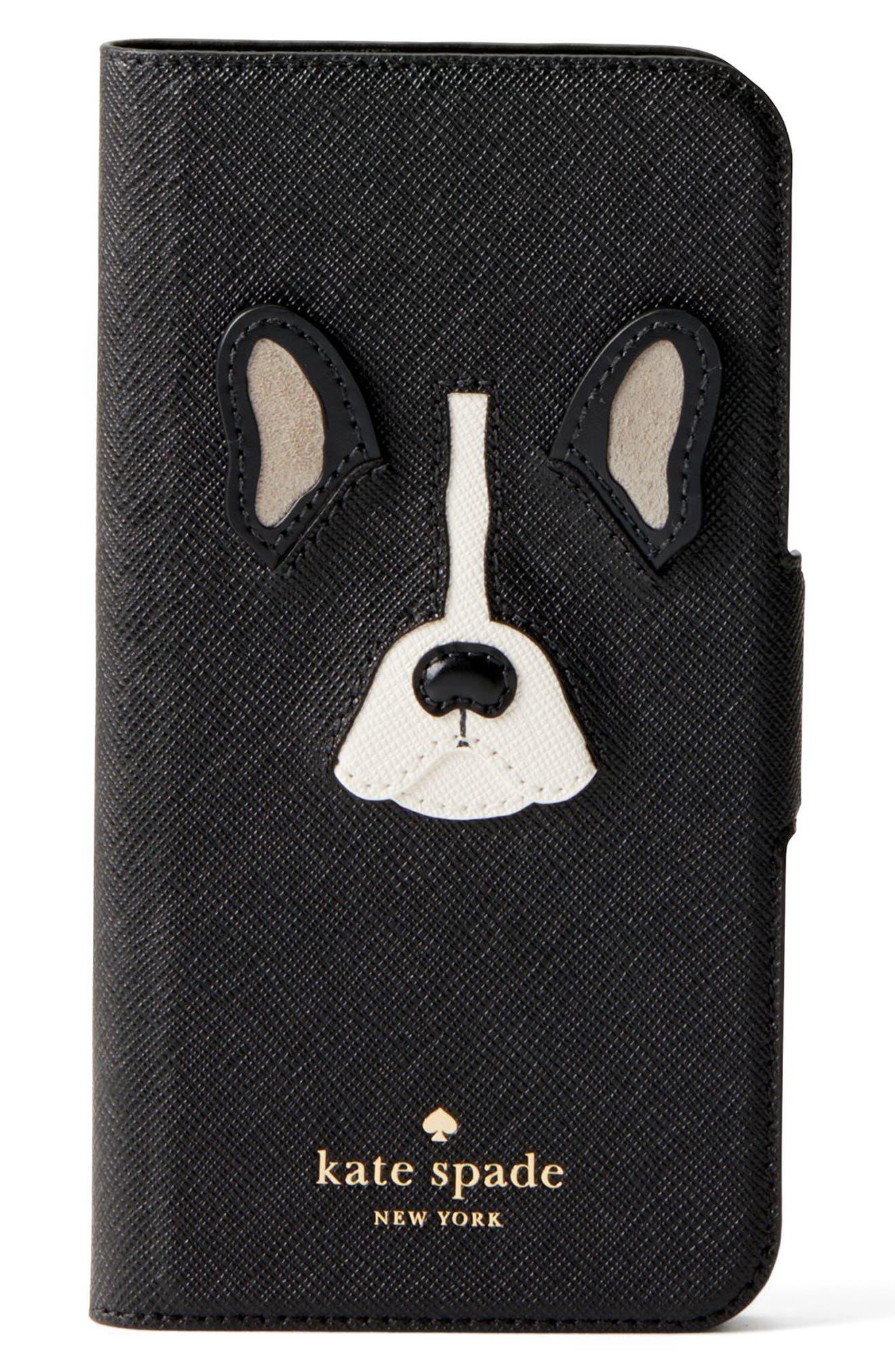 antoine appliqué leather iPhone X/Xs folio case,                         Main,                         color, 001