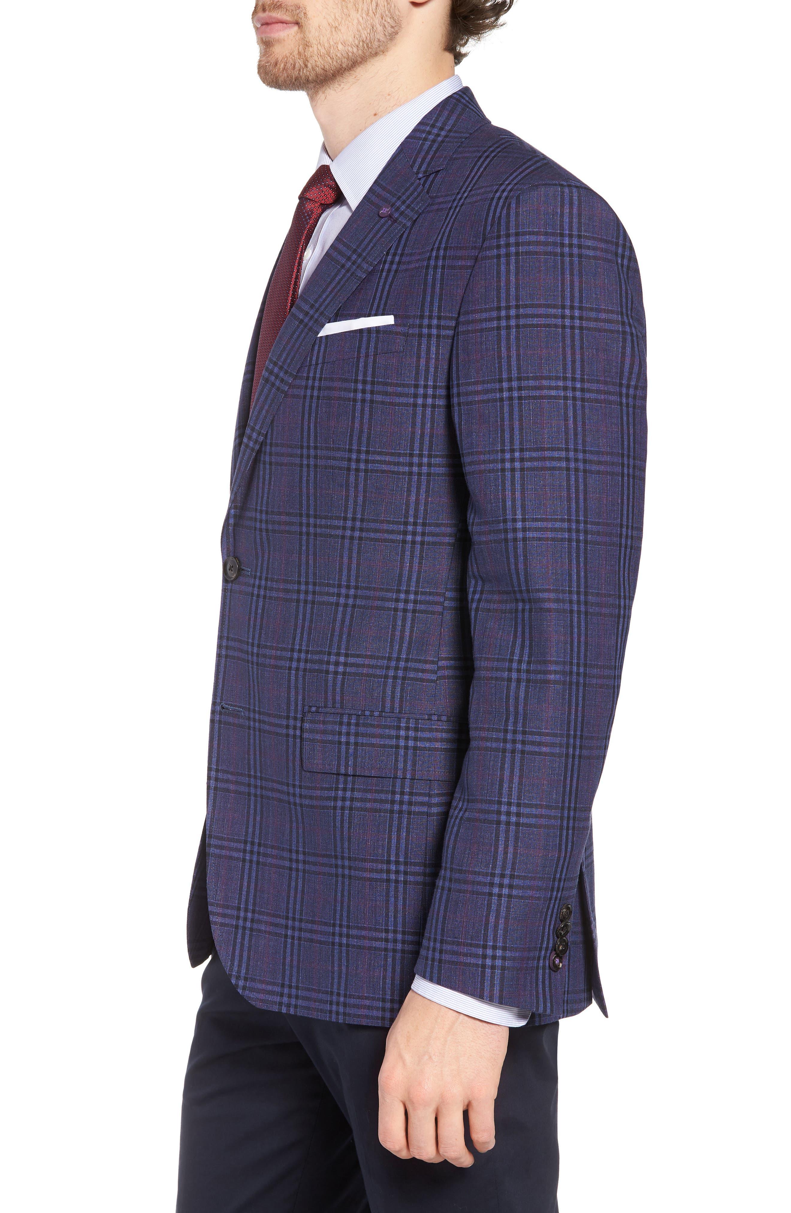 Jay Trim Fit Plaid Wool & Linen Sport Coat,                             Alternate thumbnail 3, color,                             400