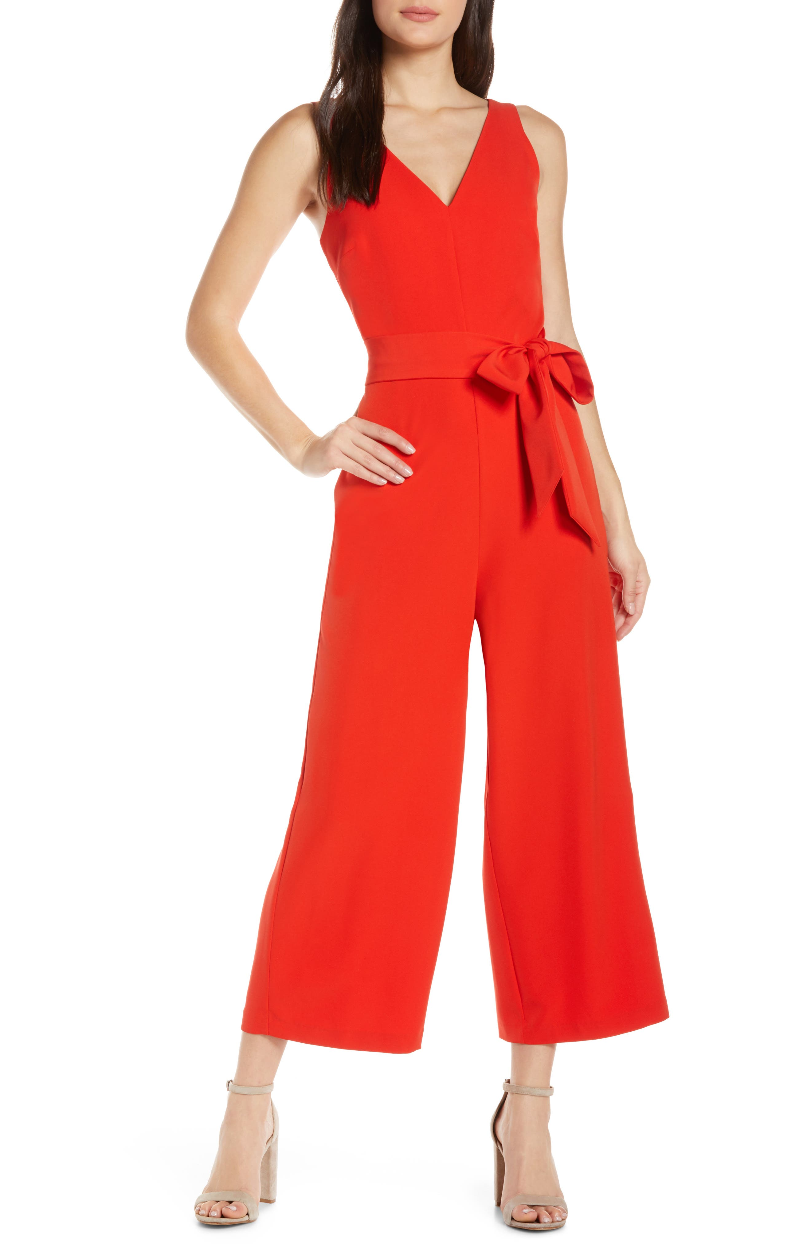 Sam Edelman V-Neck Jumpsuit, Orange