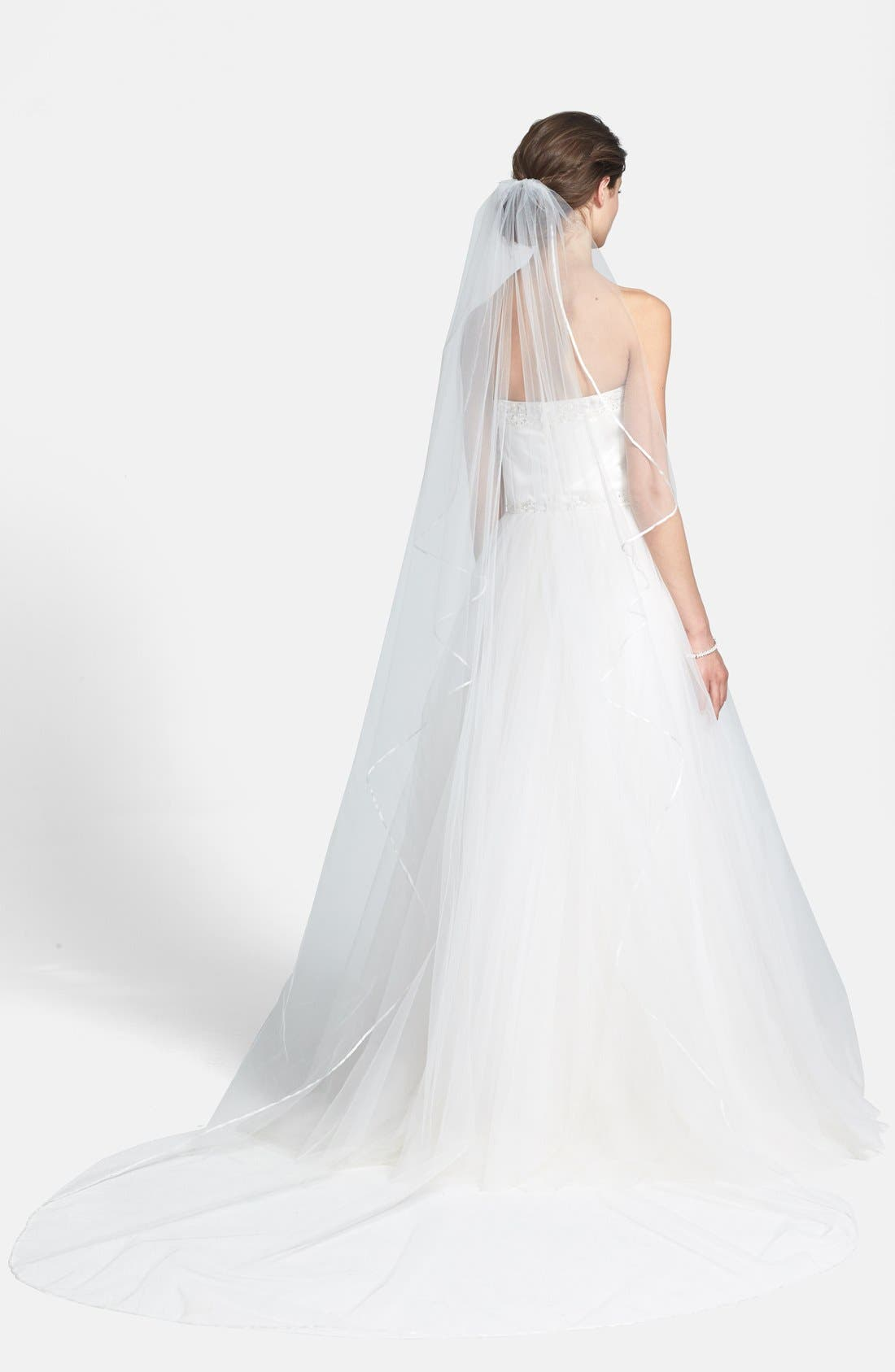 WEDDING BELLES NEW YORK,                             'Mable' Satin Trim Cathedral Veil,                             Alternate thumbnail 3, color,                             IVORY