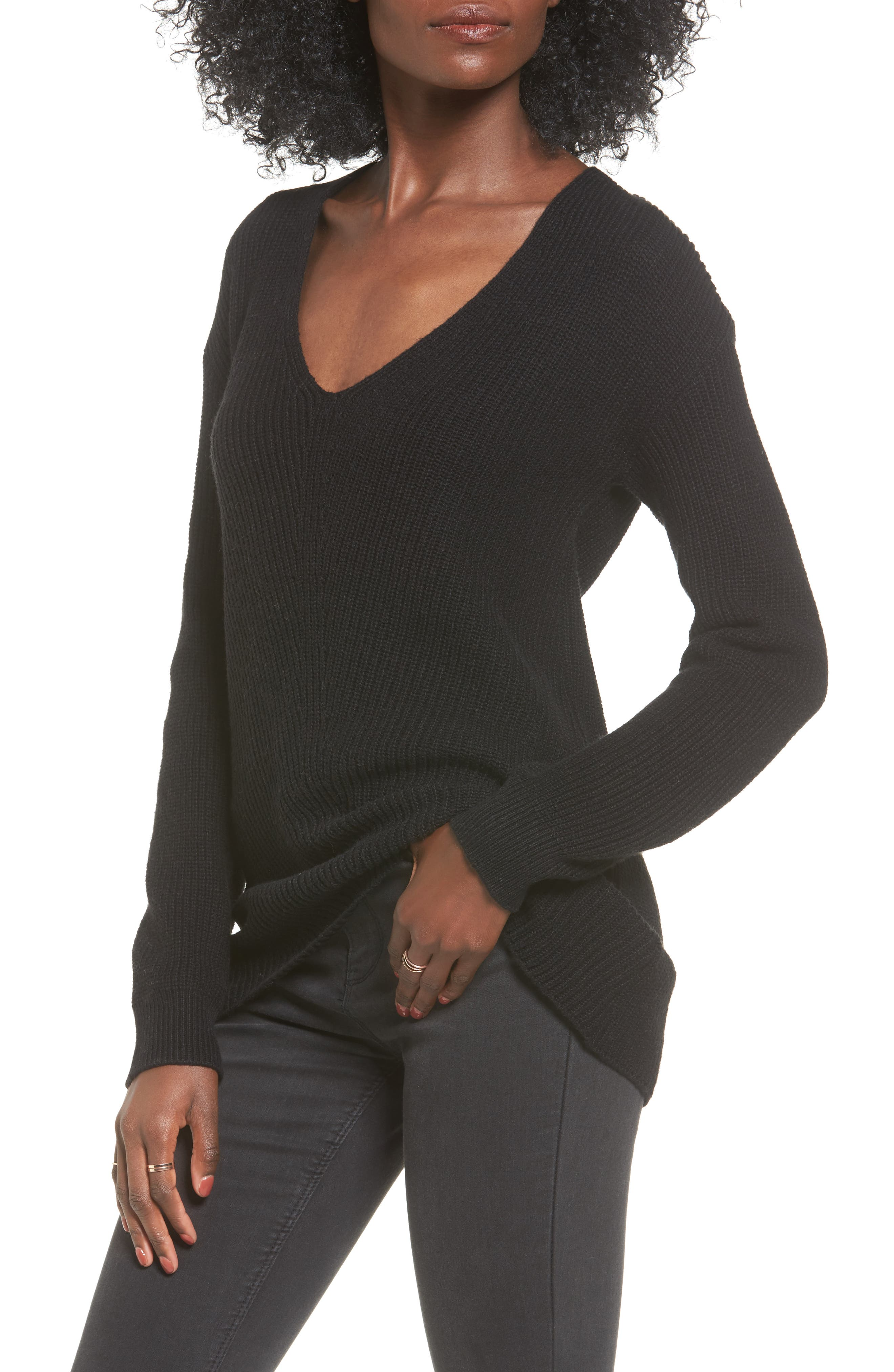 V-Neck Sweater,                         Main,                         color, 001